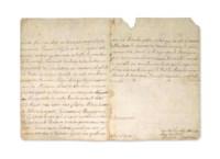 """BOILEAU-DESPRÉAUX, Nicolas Boileau, dit (1636-1711) & Jean RACINE (1639-1699). Lettre autographe (de la main de Boileau) signée """"Racine Despreaux"""" au maréchal duc de Luxembourg. Datée """"A Paris 8e juillet"""" [1690]. 2 pages et demie in-8 (227 x 168 mm) sur un double feuillet. Suscription: """"A Monseigneur  Monseigneur le Mareschal  Duc de Luxembourg"""" et ajouté d'une autre main """"à son ? des flandres"""". Encre sépia sur papier. (Pliures et quelques rousseurs. Petit manque à l'endroit du cachet et déchirure restaurée.) Provenance: ancienne collection Tronc-Jeanson."""