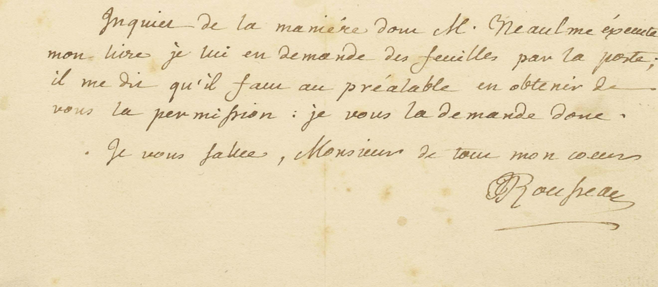 """ROUSSEAU, Jean-Jacques (1712-1778). Lettre autographe signée à un destinataire inconnu, située et datée """"a Montmorenci le 31 J[an]r ? 1762"""". Une page sur un feuillet in-8 (215 x 168 mm). Encre brune sur papier. (Rousseurs.) Provenance: ancienne collection Tronc-Jeanson."""