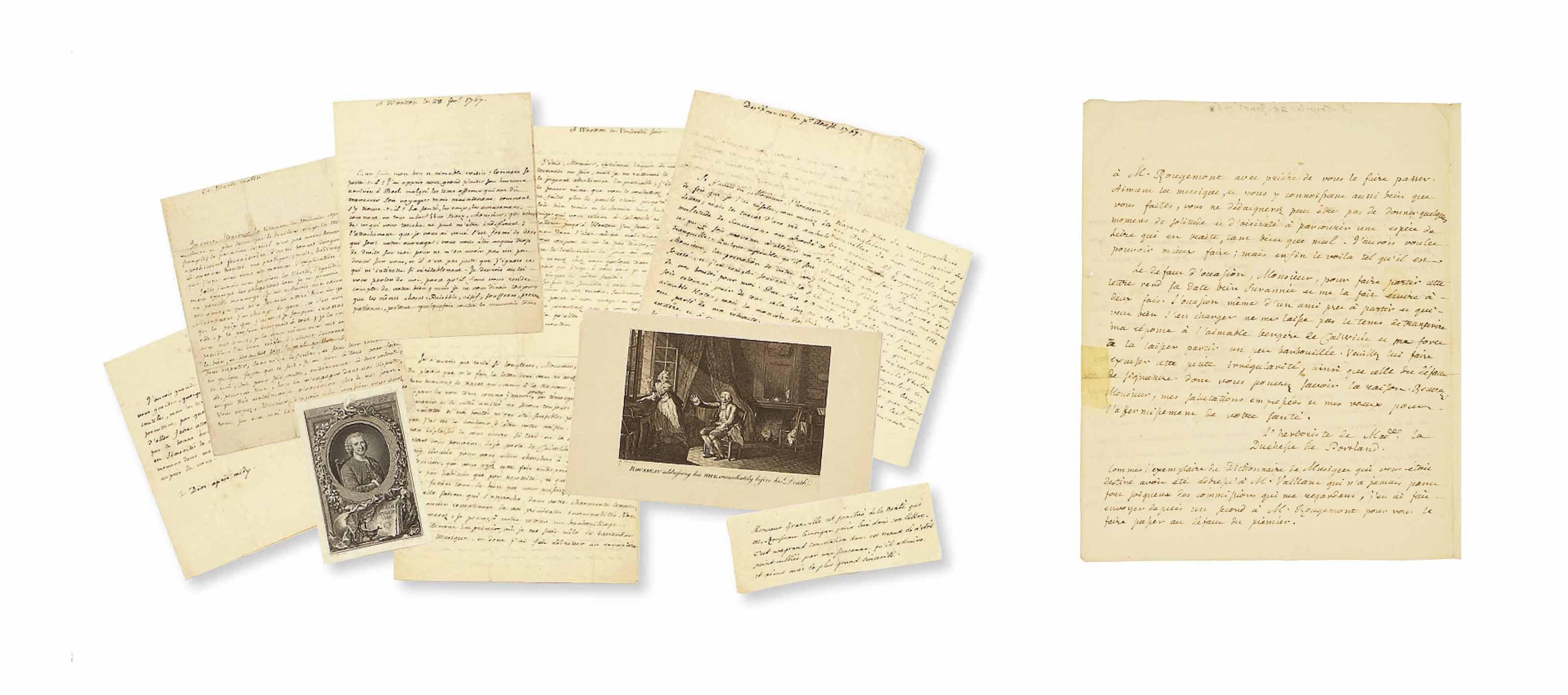 """ROUSSEAU, Jean-Jacques (1712-1778). Réunion de 14 lettres autographes (dont un fragment), la plupart signées """"JJ Rousseau"""" ou """"JJR"""". dont 12 adressées à Bernard Granville et datant principalement de son séjour en Angleterre (janvier 1766-mai 1767)."""