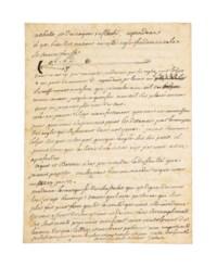 """VOLTAIRE, François-Marie Arouet dit (1694-1775). Lettre autographe signée """"Voltaire"""" à Jean-Jacques Dortous de Mairan (1678-1771), située et datée """"A Cirey par Vassy en Champagne ce 9 novembre 1736"""". 4 pages in-8 (218 x 164 mm) sur un double feuillet. Encre sur papier. (Rousseurs.)"""