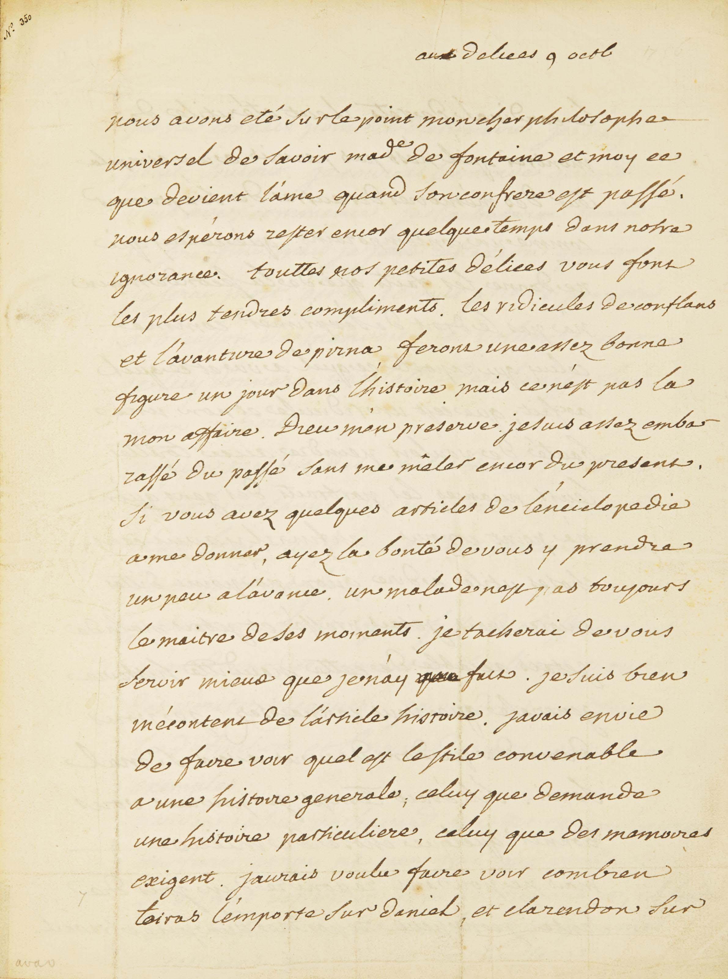 VOLTAIRE, François-Marie Arouet dit (1694-1775). Recueil contenant 8 lettres autographes. In-folio (305 x 265 mm). Chaque lettre dans un montage à fenêtre. (Rousseurs éparses, papier parfois un peu sali.) Reliure du XXe siècle, signée Sotheran & Co au contreplat, maroquin rouge, triple filet doré encadrant les plats, dos à nerfs orné, roulette intérieure dorée (quelques infimes usures). Provenance: ancienne collection Tronc-Jeanson.