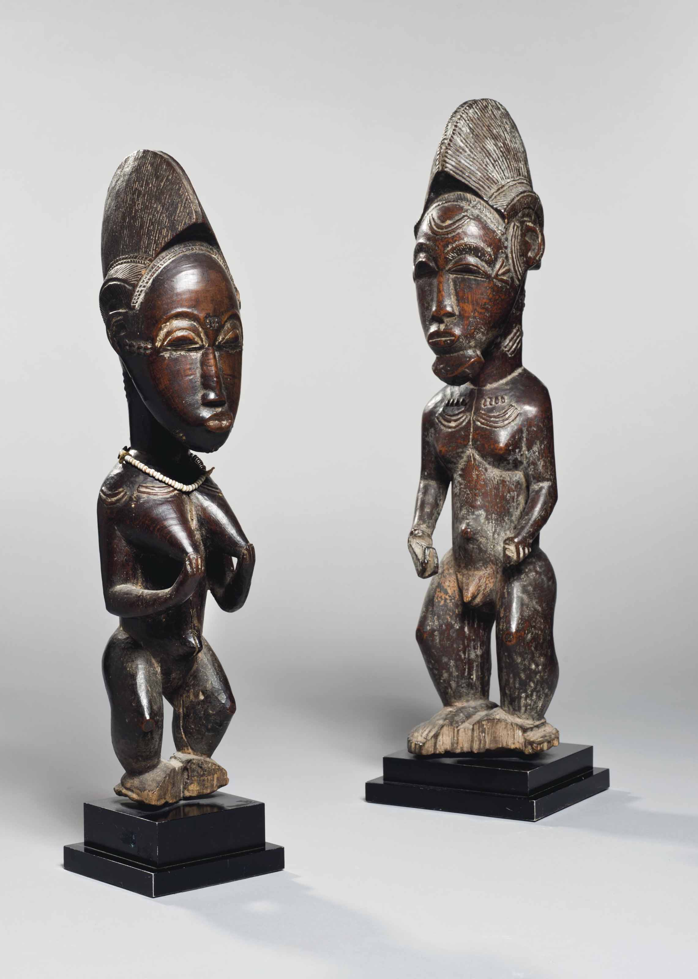 Paire de statuettes Baoulé