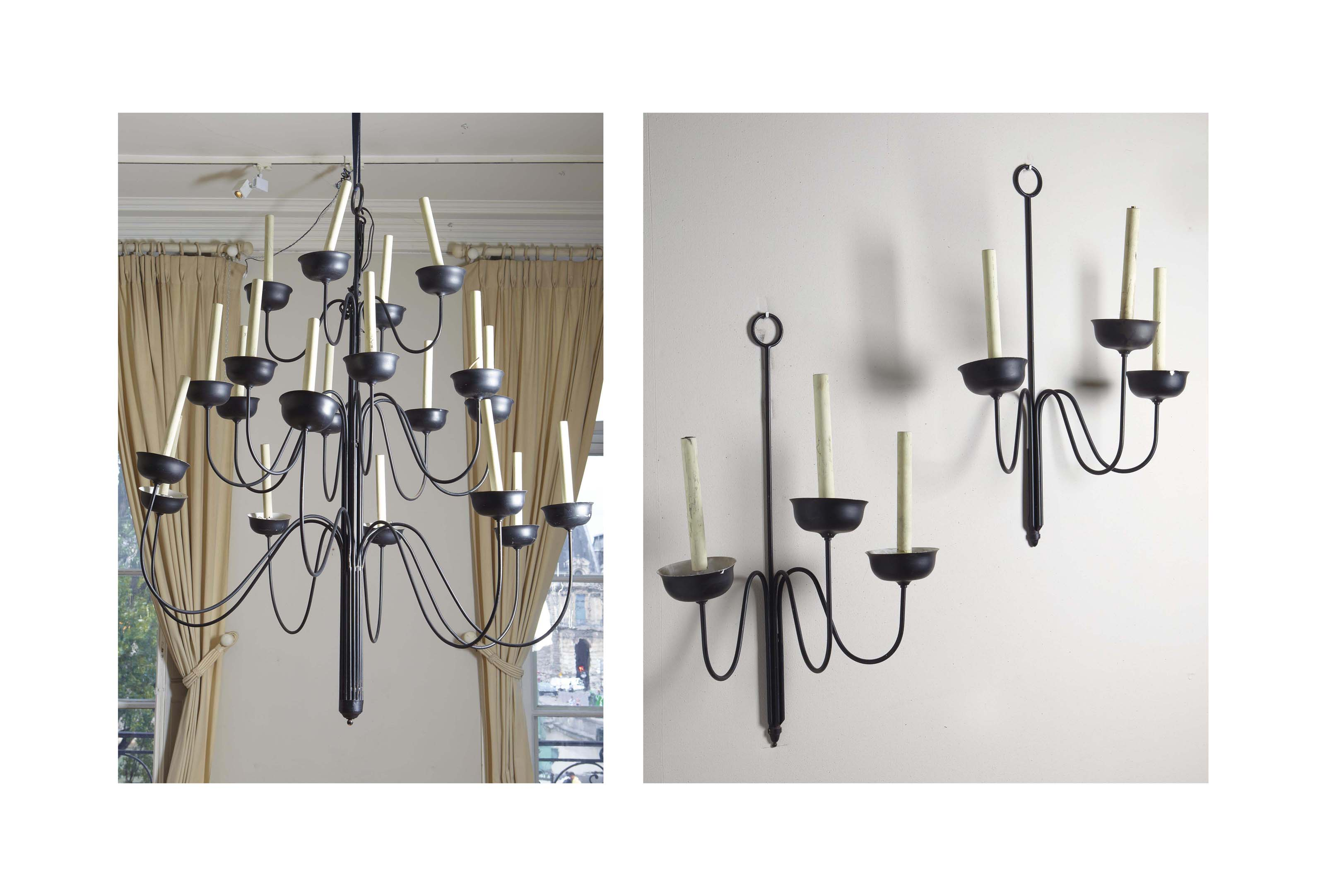travail moderne paire de lustres et paire d 39 appliques christie 39 s. Black Bedroom Furniture Sets. Home Design Ideas