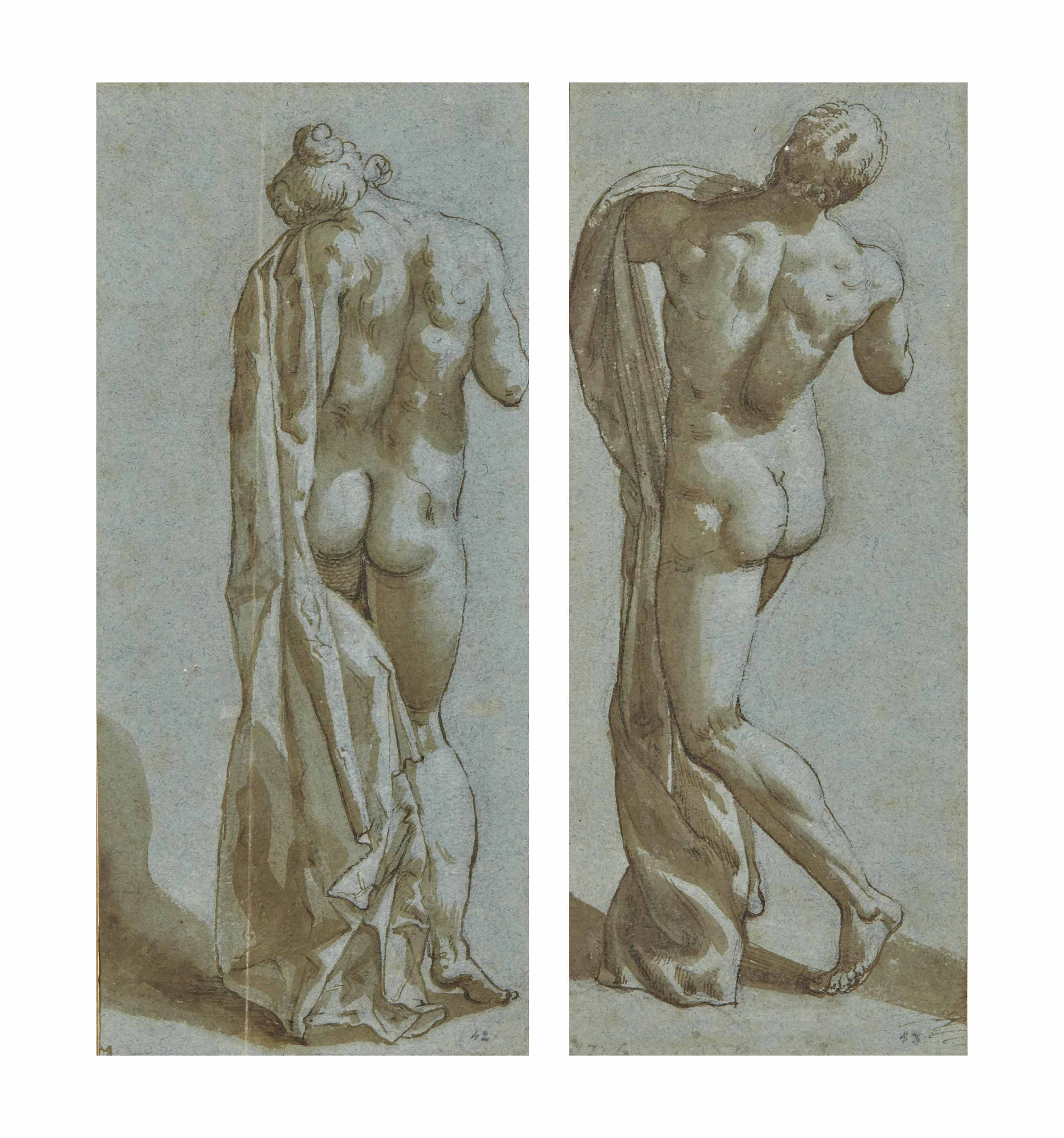 Deux académies: une jeune femme nue vue de dos; et Jeune homme nu vu de dos