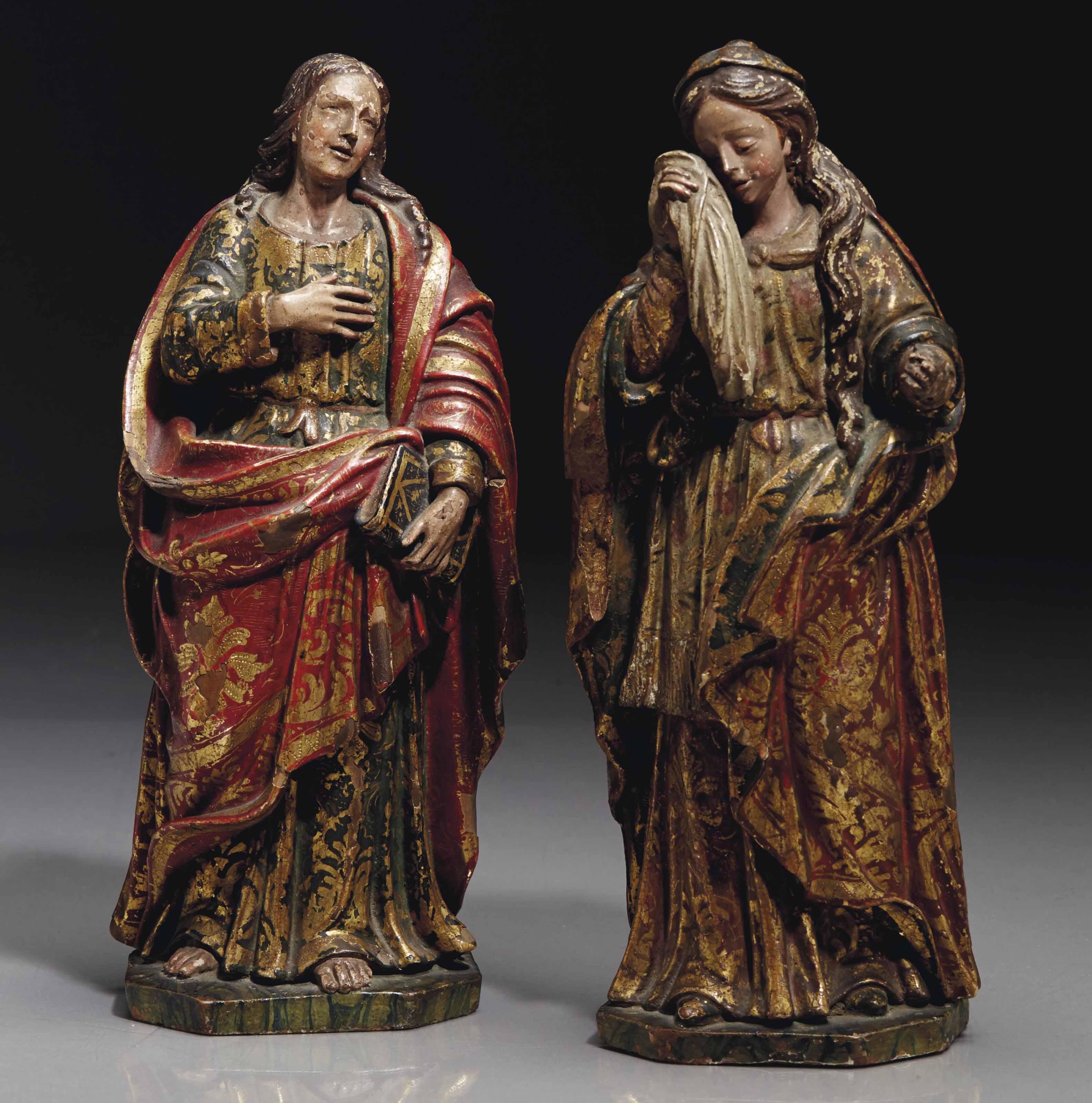 paire de figures en terre cuite peinte polychrome a rehauts d 39 or representant la vierge marie et. Black Bedroom Furniture Sets. Home Design Ideas
