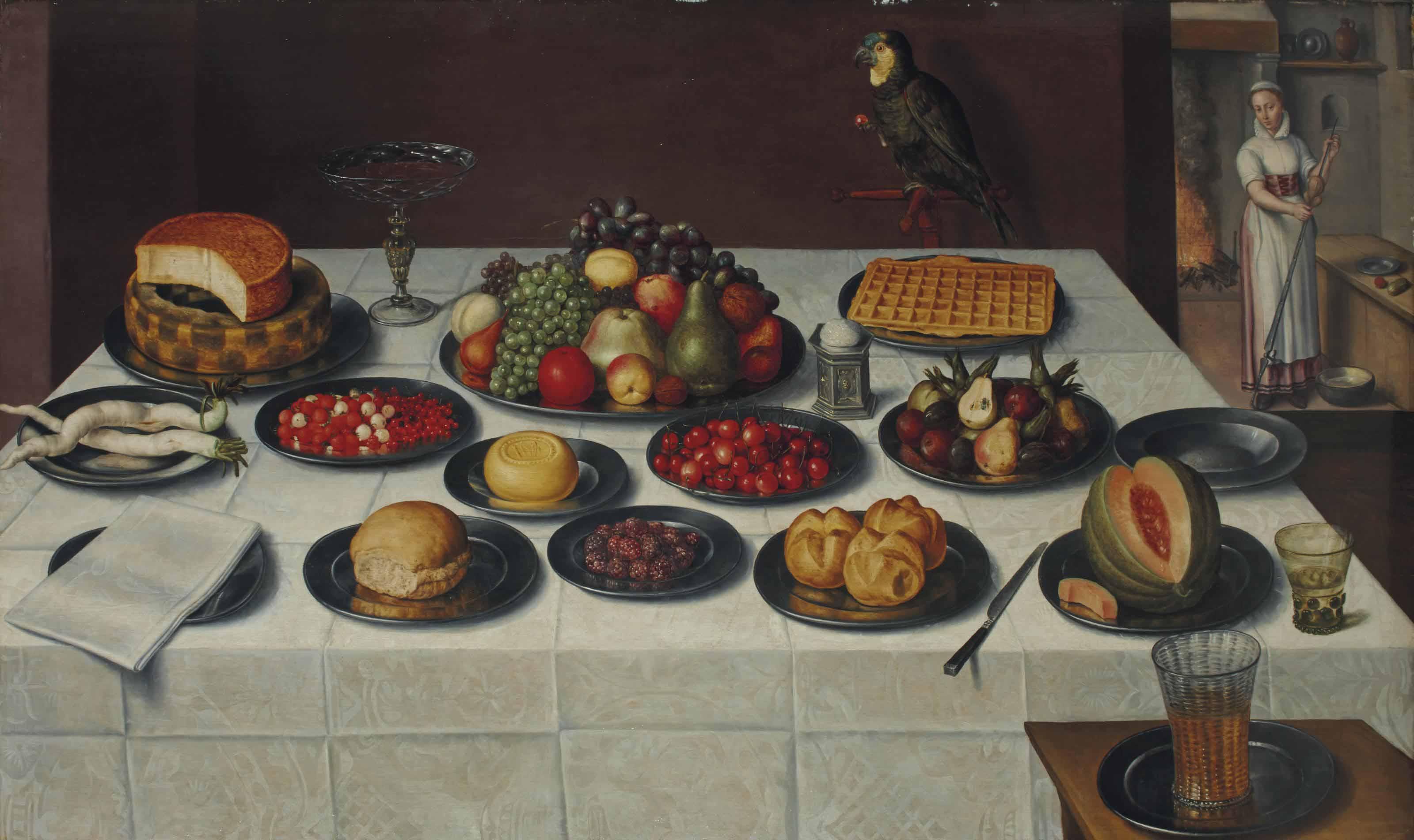 Mûres, cerises, poires, melon et autres fruits, panais, pain,  fromages et une gauffre, roemer, tazza et salière sur une table drapée