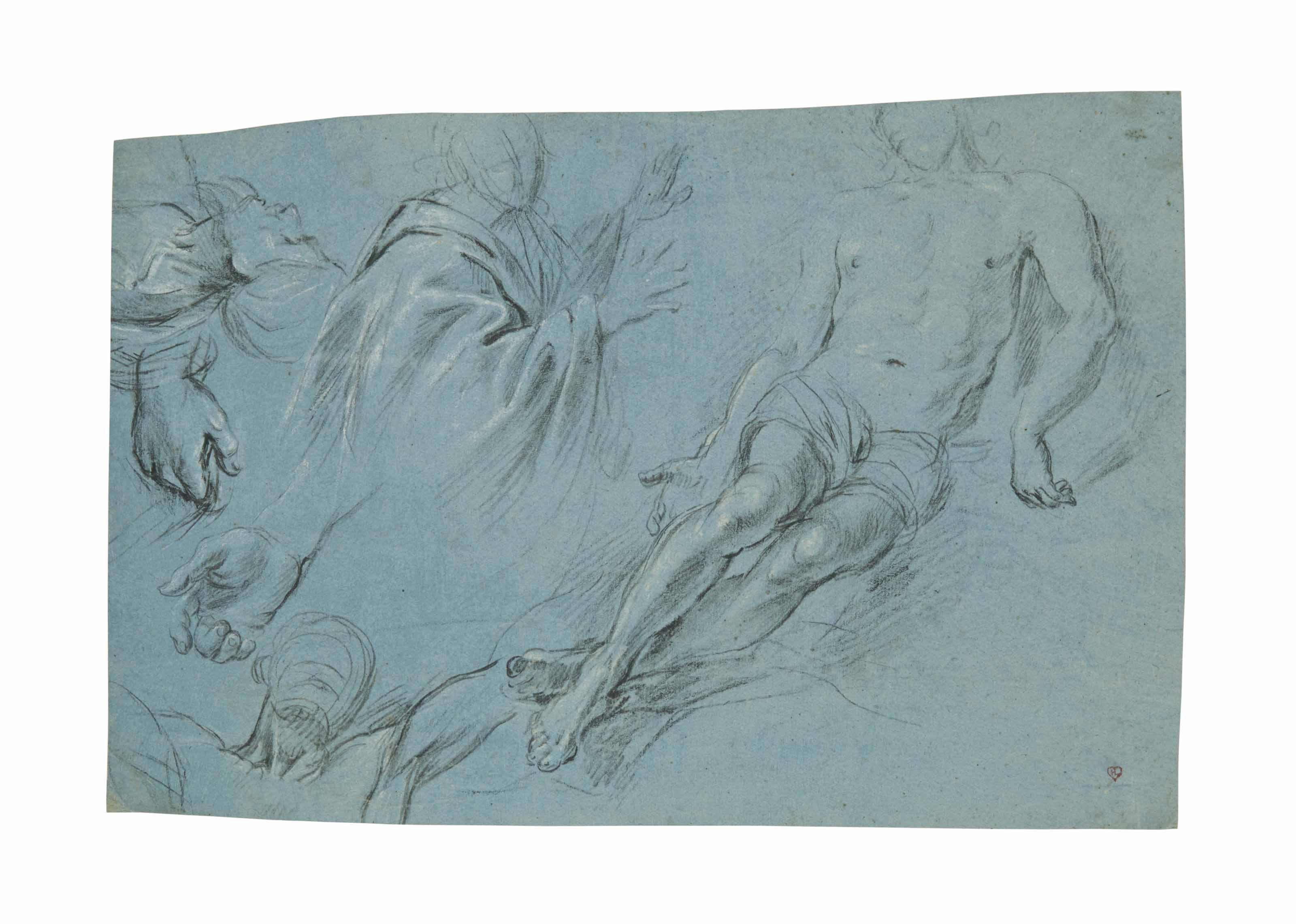 Etude de figures dont un homme nu allongé et une figure drapée agenouillée