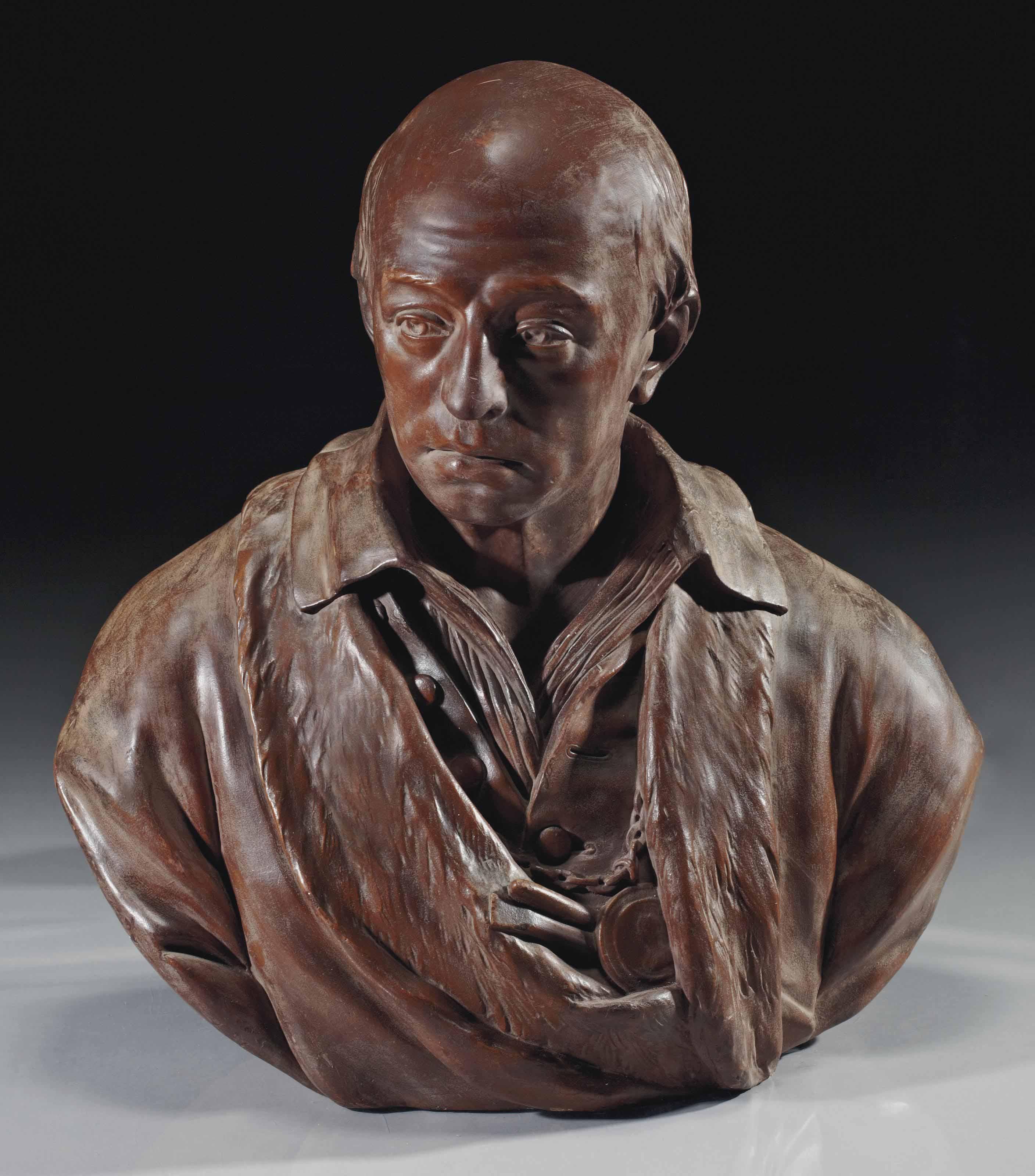 buste en platre peint representant le sculpteur laurent delvaux 1696 1778 attribue a. Black Bedroom Furniture Sets. Home Design Ideas