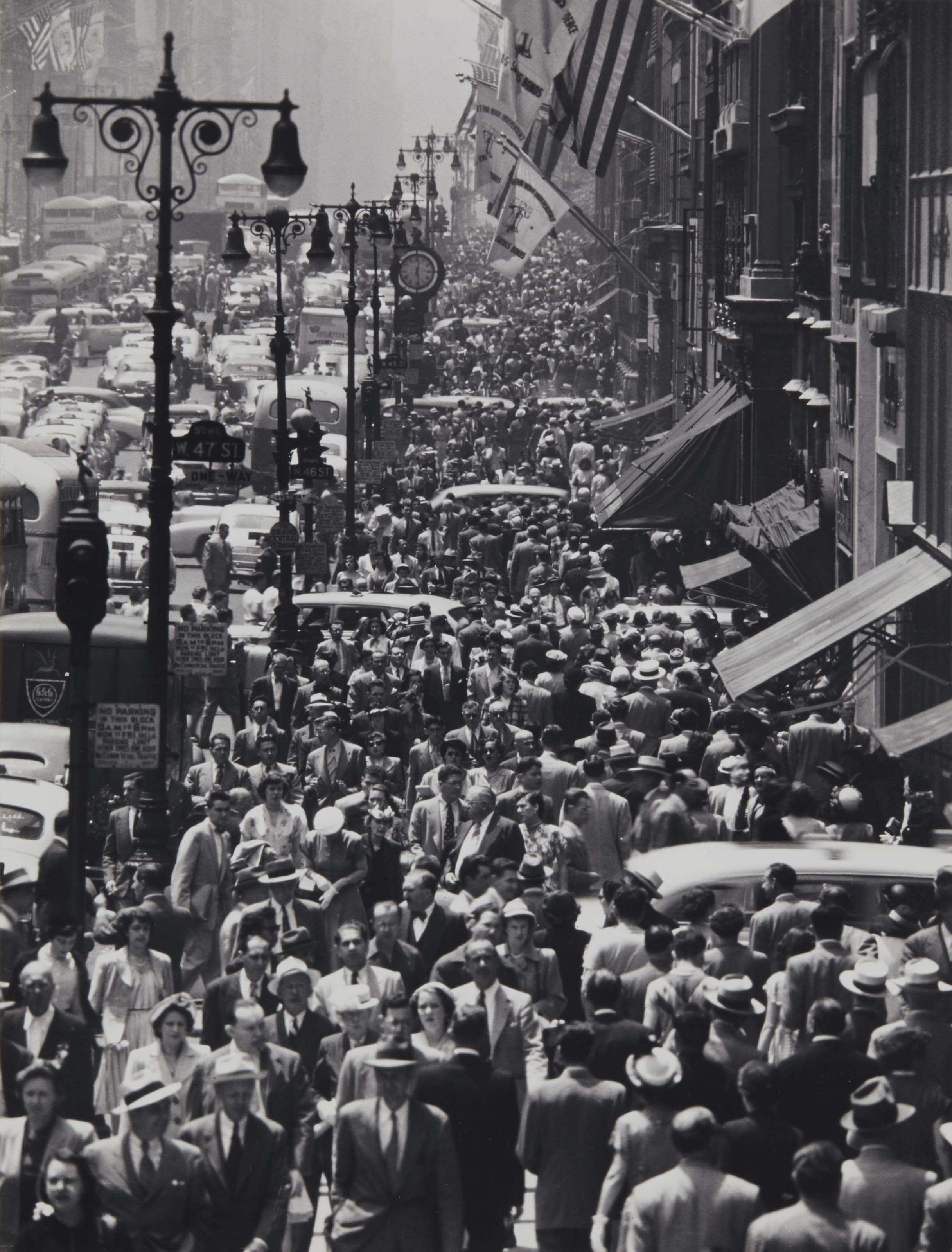 Lunch rush on Fifth Avenue, New York City, 1950