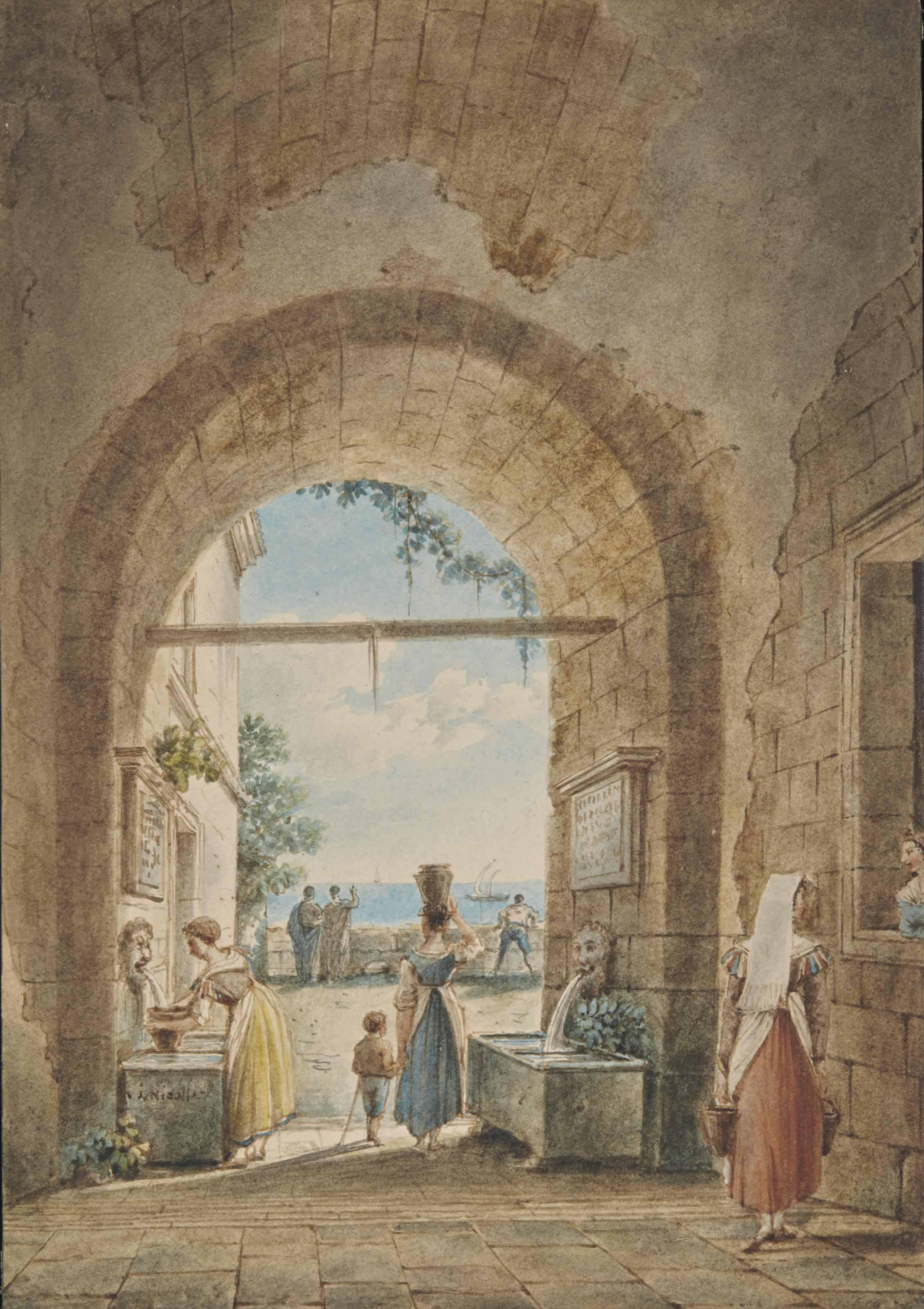 Vue d'un péristyle; et Les deux fontaines