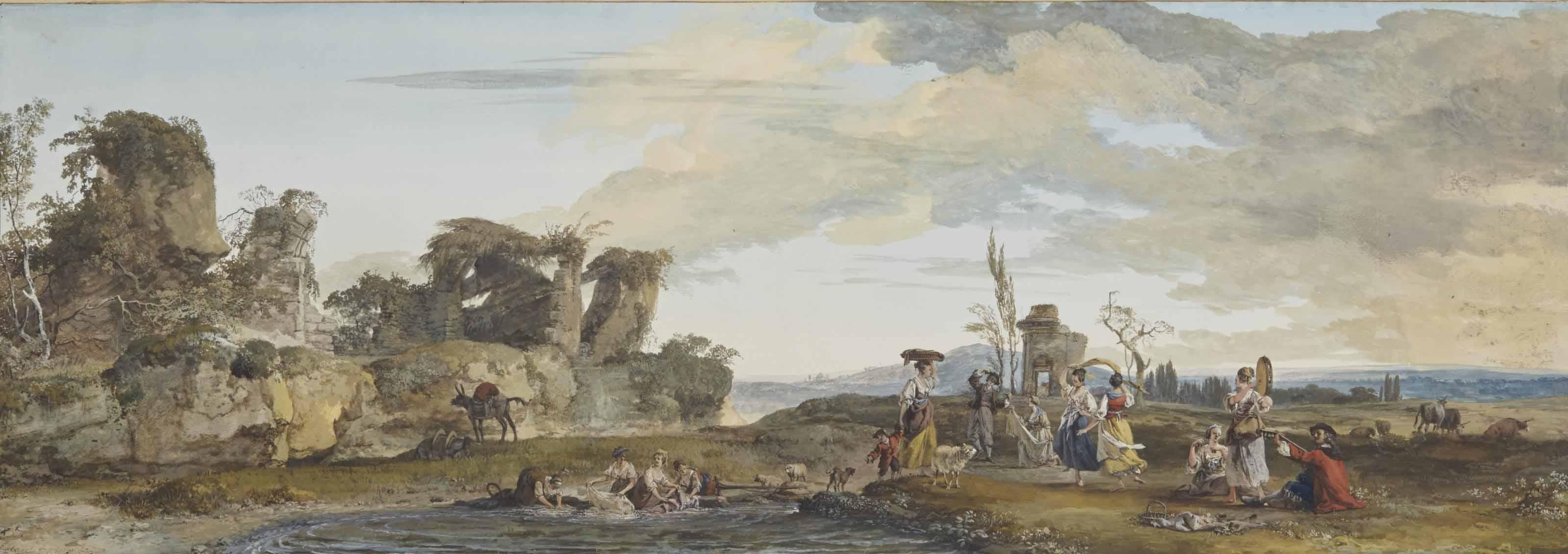 Jeunes femmes dansant et lavandières dans un paysage en ruines