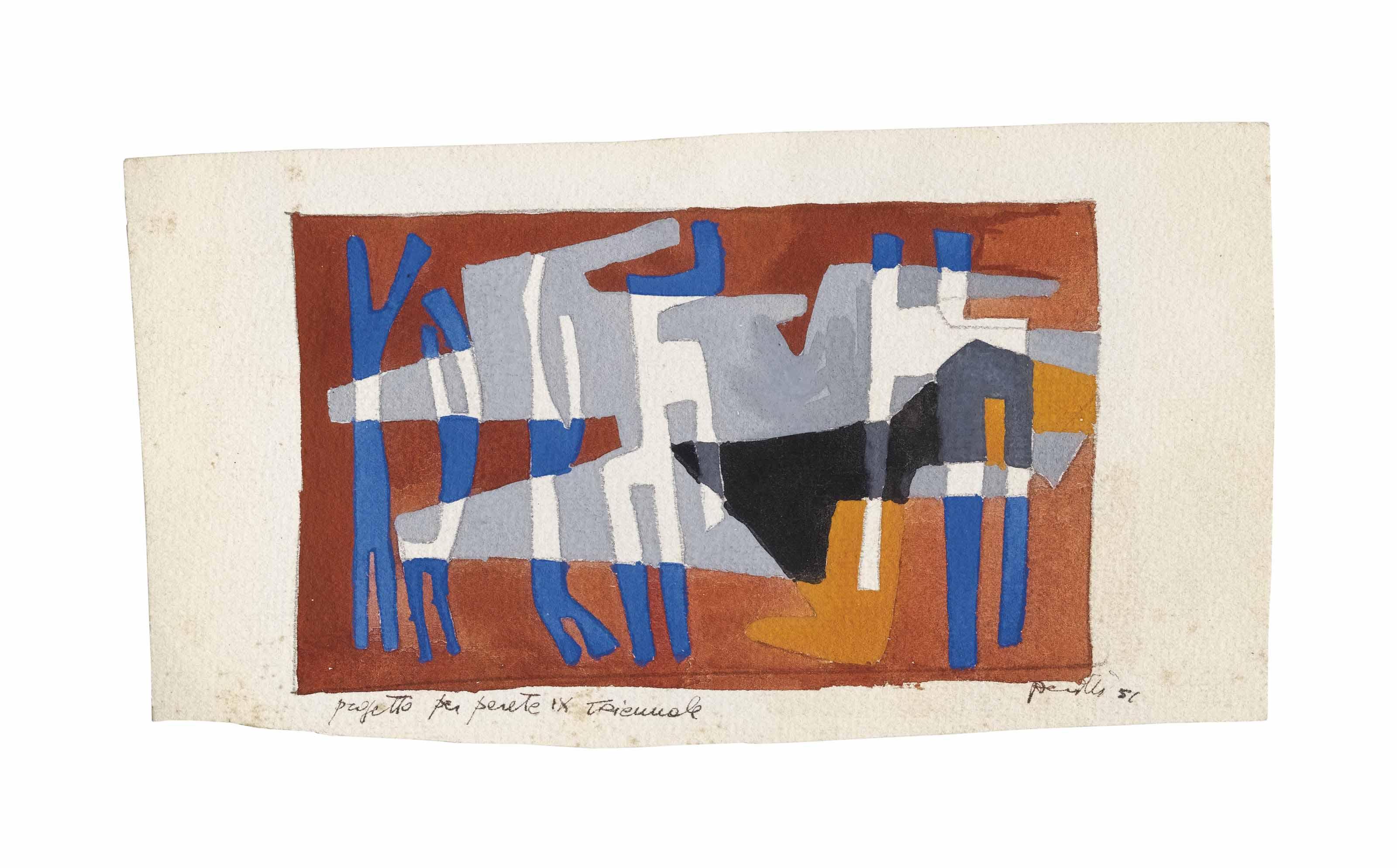 Lotto di due opere: a) Progetto per parete IX Triennale    firmato e datato Perilli 51 (in basso a destra); titolo    Progetto per parete IX Triennale (in basso a sinistra)    matita e tempera su cartoncino    cm 10,5x19,8    Eseguito nel 1951    Autentica dell'artista su fotografia in data 26 aprile 2006 b) Senza titolo    pastello su carta    firmato e datato Perilli 58 (in basso a destra)    cm 34,3x48,2    Eseguito nel 1958    Autentica dell'artista su fotografia in data 20 maggio 1992  (2)