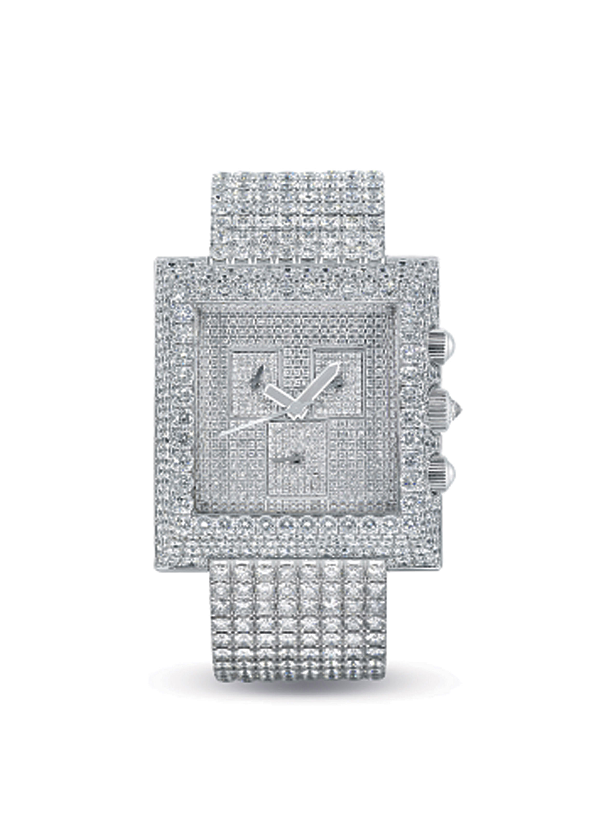 CORUM. AN IMPRESSIVE AND VERY RARE 18K WHITE GOLD AND DIAMOND-SET SQUARE CHRONOGRAPH BRACELET WATCH