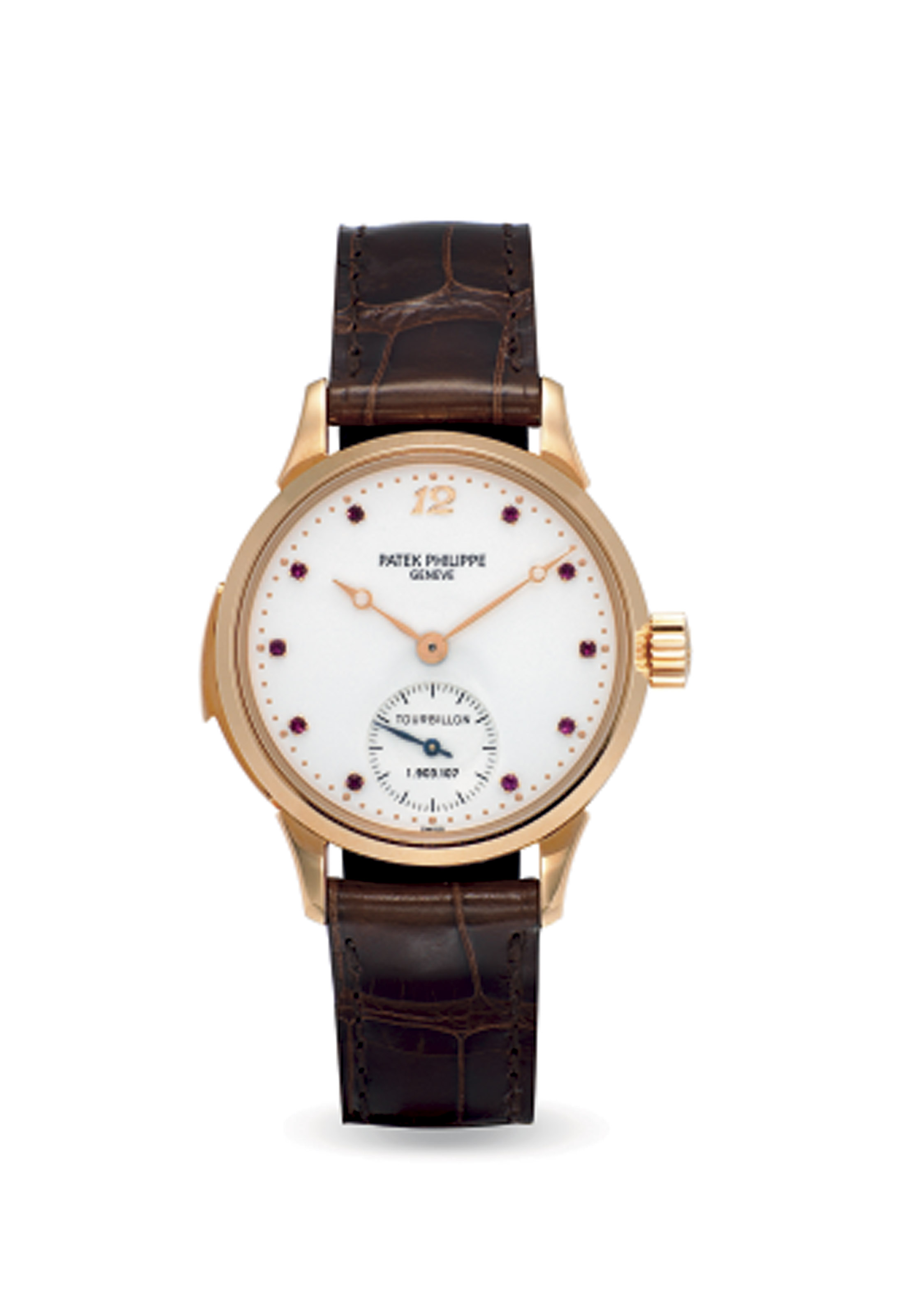 PATEK PHILIPPE. AN EXCEPTIONAL, VERY RARE AND POSSIBLY UNIQUE 18K PINK GOLD MINUTE REPEATING TOURBILLON WRISTWATCH WITH RARE RUBY-SET DIAL, ORIGINAL CERTIFICATE, ADDITIONAL CASE BACK AND PORTFOLIO PHOTOGRAPHS