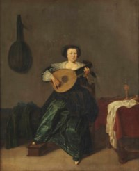 An elegant lady in a green dress playing a lute in an interior