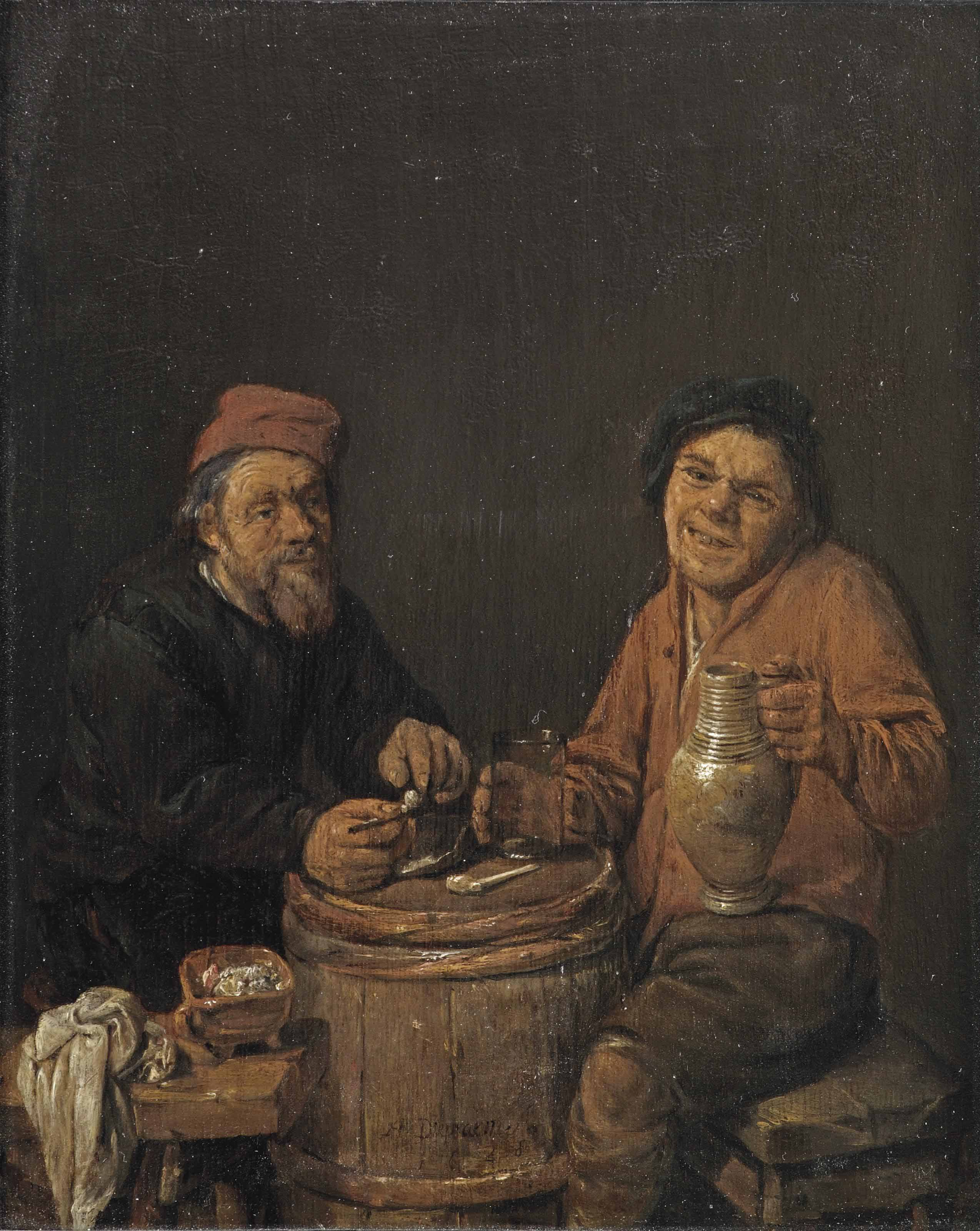 Two peasants smoking and drinking