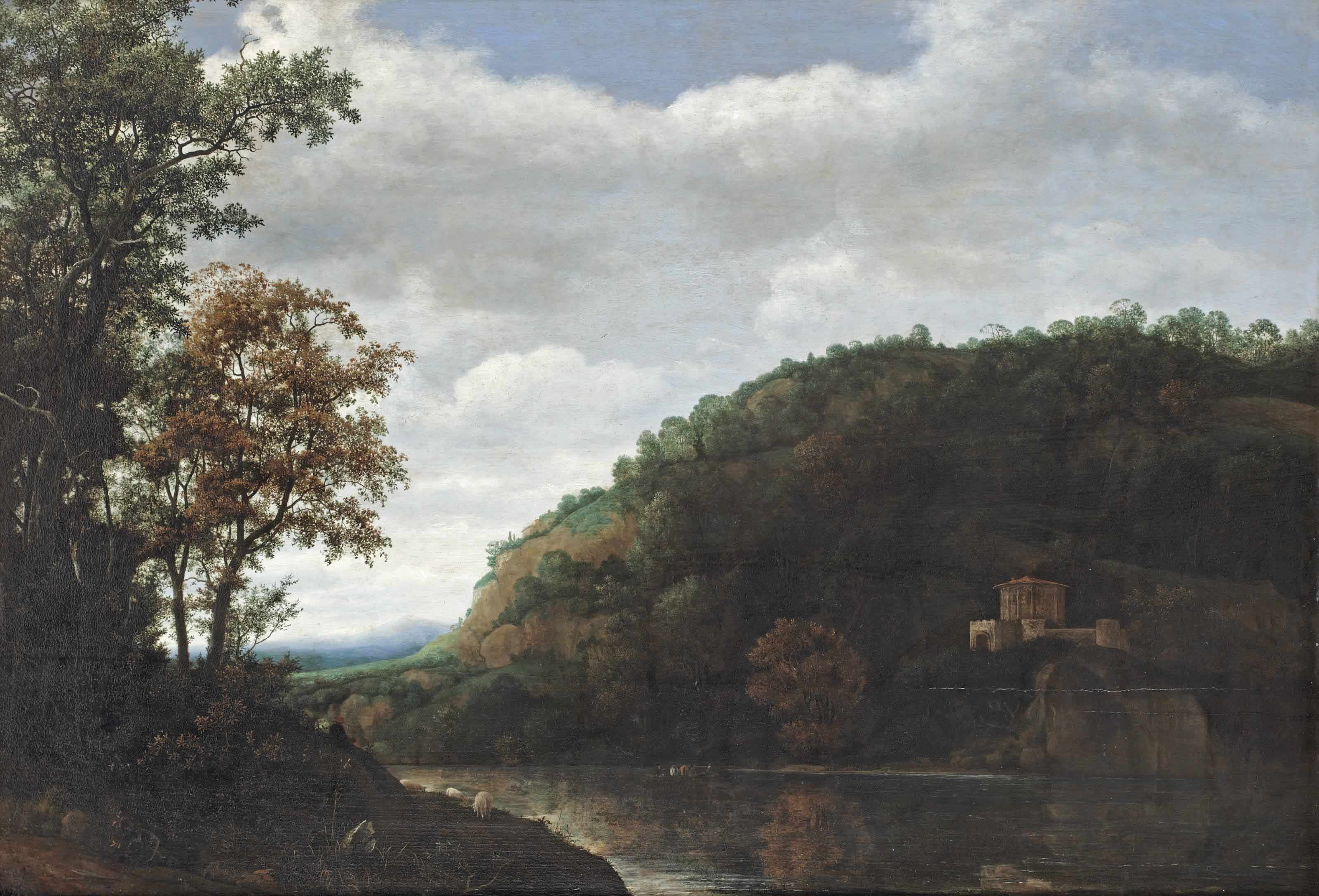 A mountainous river landscape with a shepherd in the left foreground and a temple on the opposite river bank