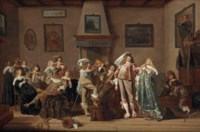 A merry company making music and drinking in an interior