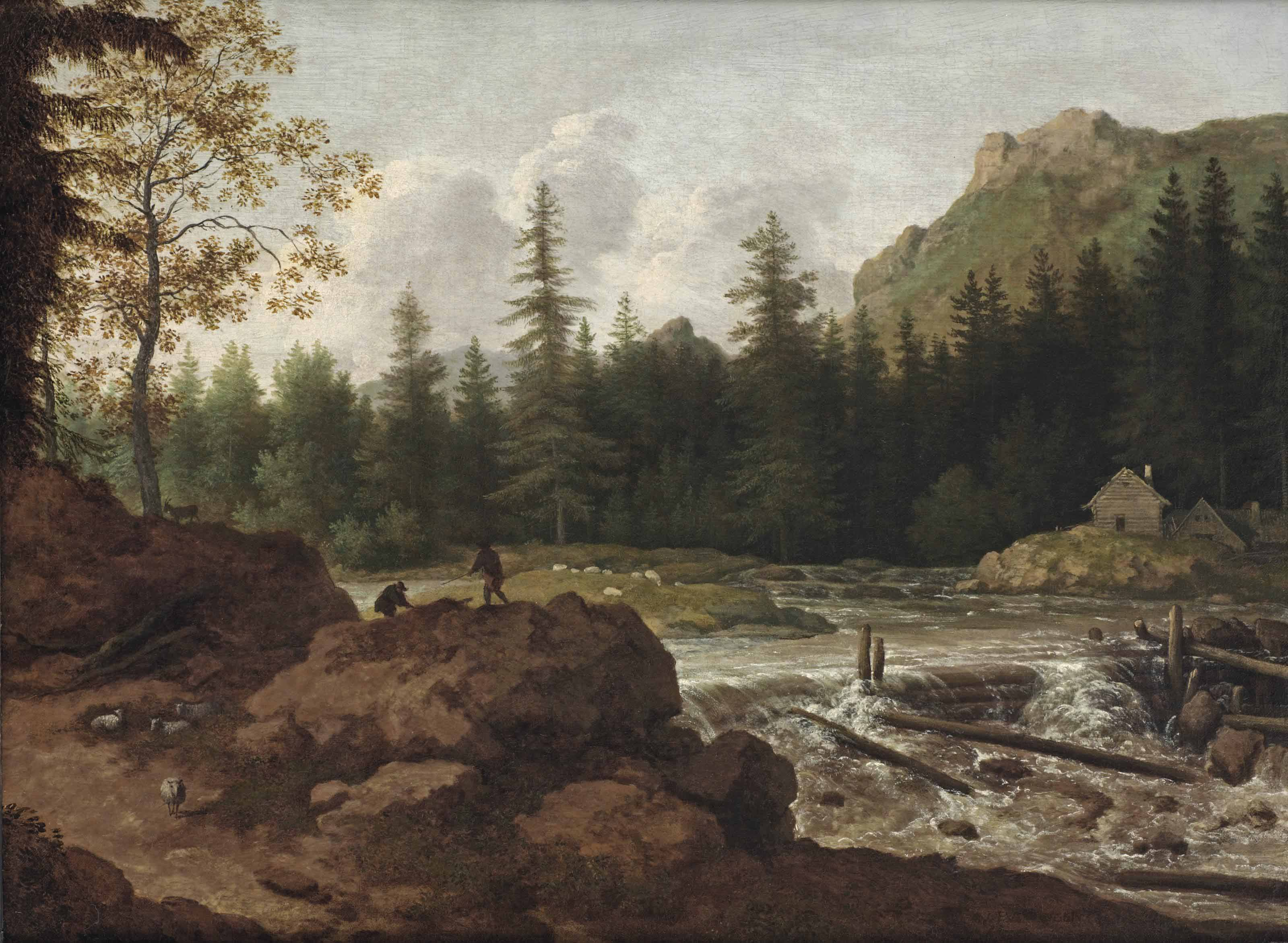 A Scandinavian river landscape with herdsmen on a rock by a waterfall