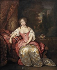 Portrait of a lady, full-length, in a red and gold embroidered silk dress, seated on a marble bench before a classical column and curtain, a park landscape beyond