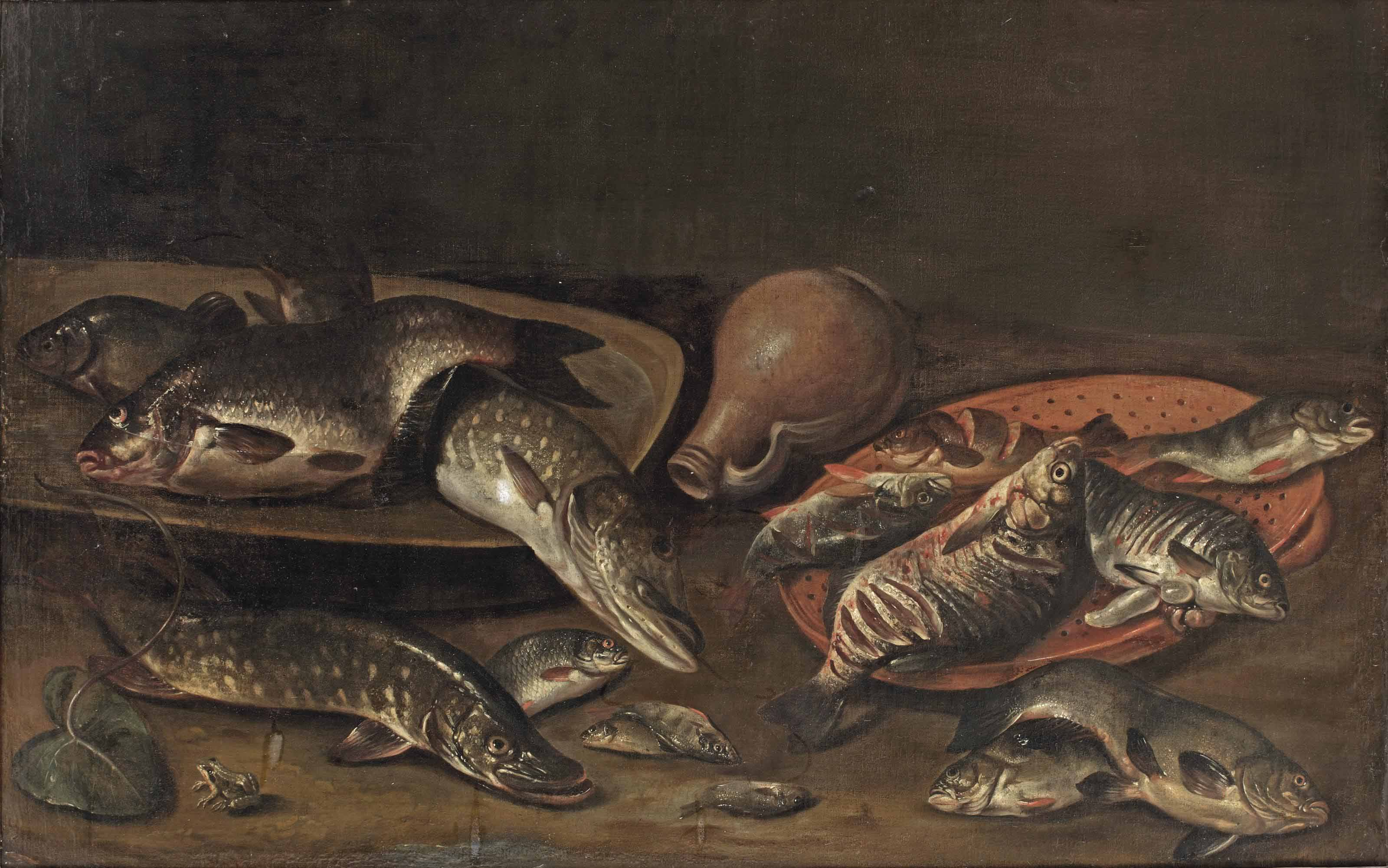 Various fish on platters, an earthenware jug, and a small frog in the left foreground