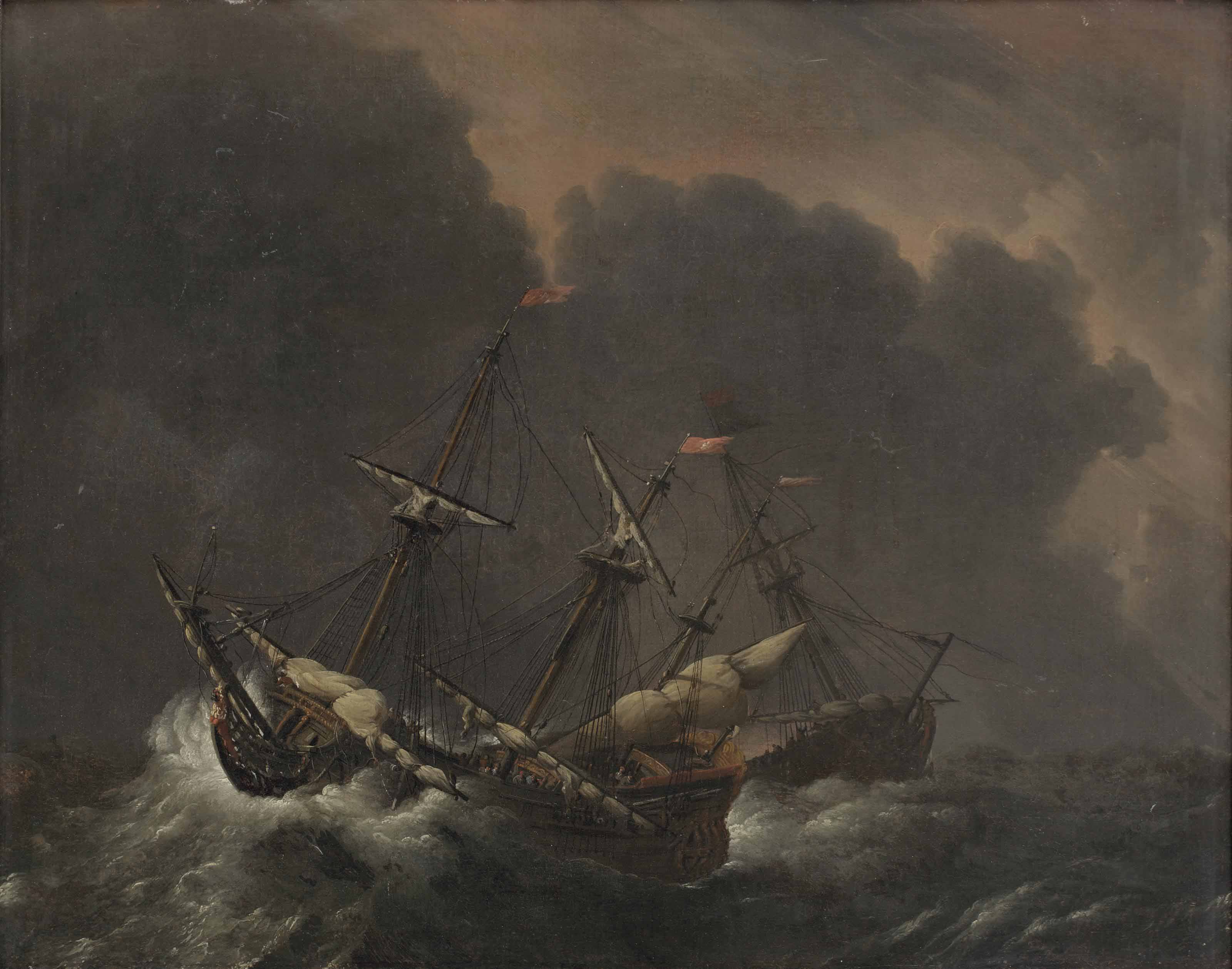 Ships caught in a storm