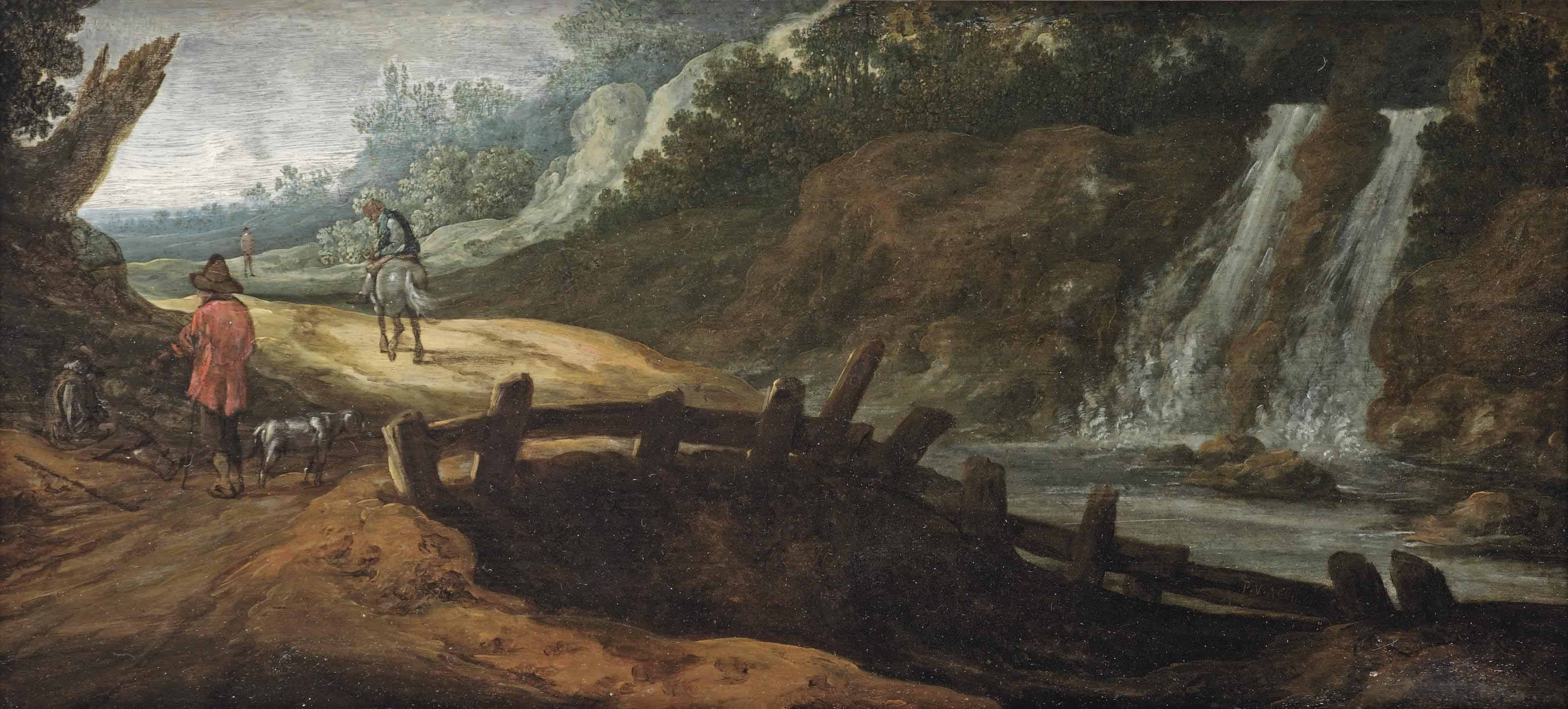 A rocky landscape with figures on a path, a waterfall to the right