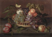 A wicker basket with white and blue grapes, peaches, an apple and vine leaves on a stone ledge together with plums, a libelle, a lizard, a butterfly and other fruits