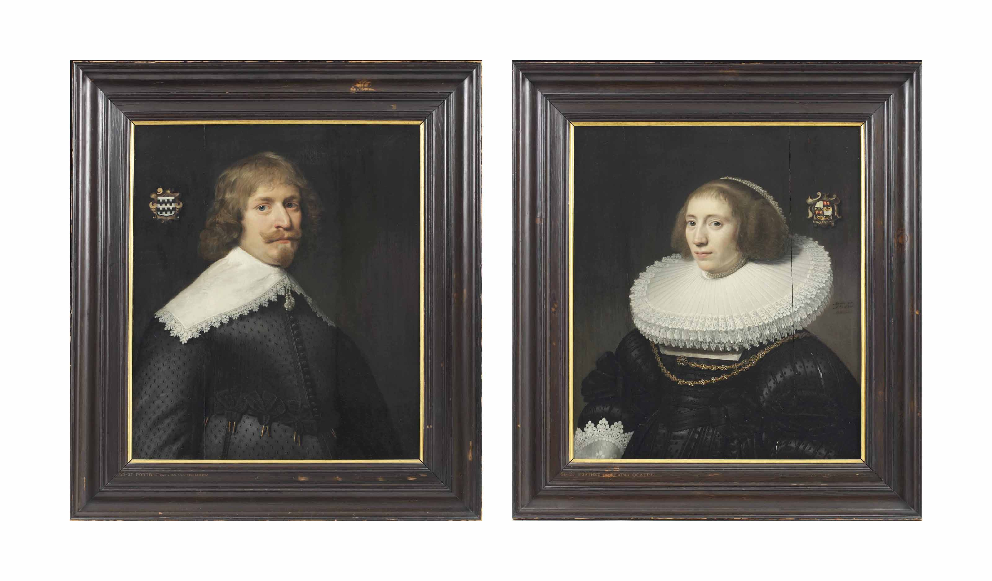 Portrait of Jan van der Haer (1609-1665), half-length, in a black silk doublet with cutwork, edged with black lace; and Portrait of Levina Ockers (1607-1678), half-length, in a black dress with a double layered lace-trimmed ruff and jewelled collar