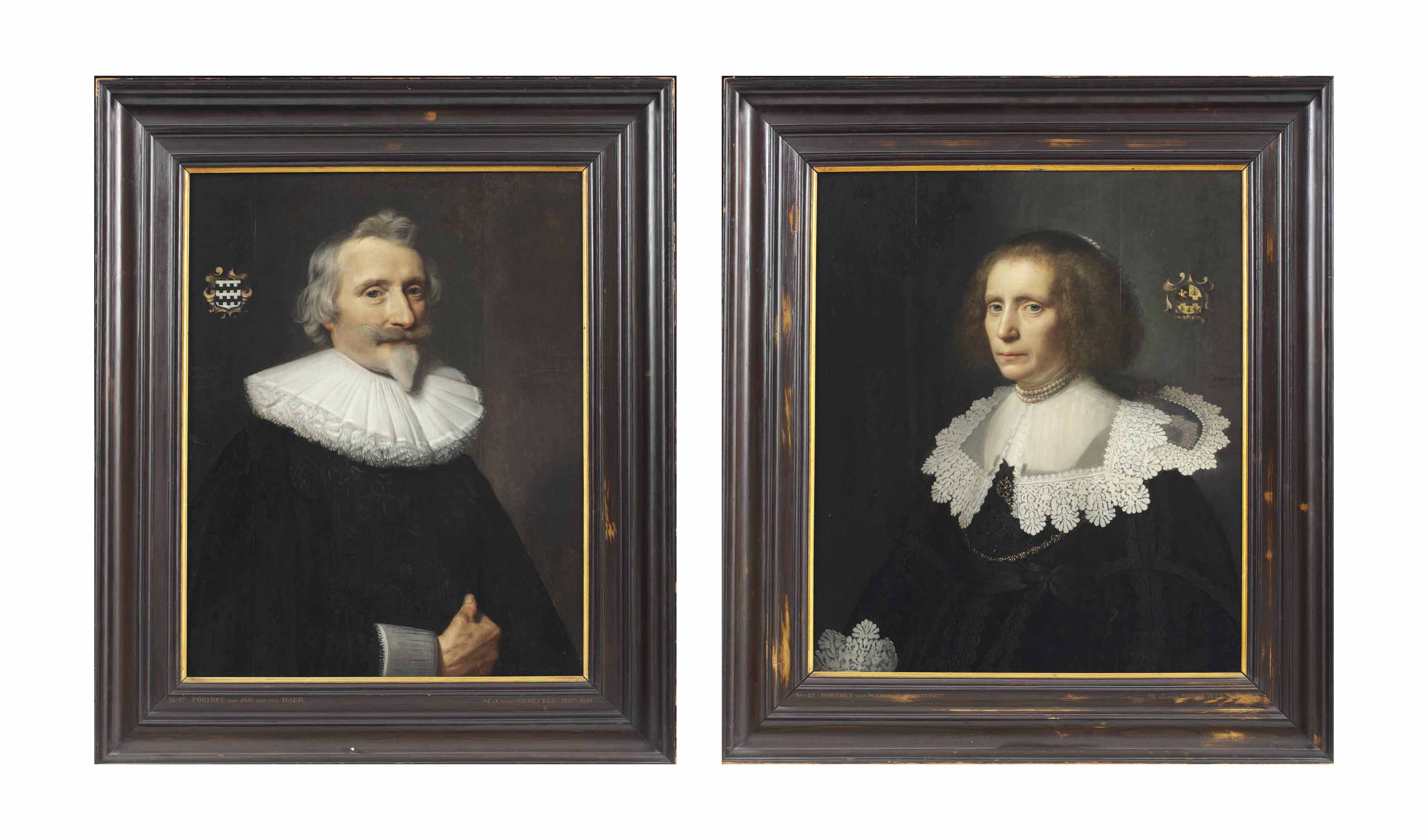 Portrait of Jan van der Haer (1573-1646), half-length, in a black cape over a doublet, and a lace ruff; and Portrait of Maria van Kinschot (1589-1648), half-length, in a black lace-trimmed dress with a flat lace-trimmed collar and three strings of pearls