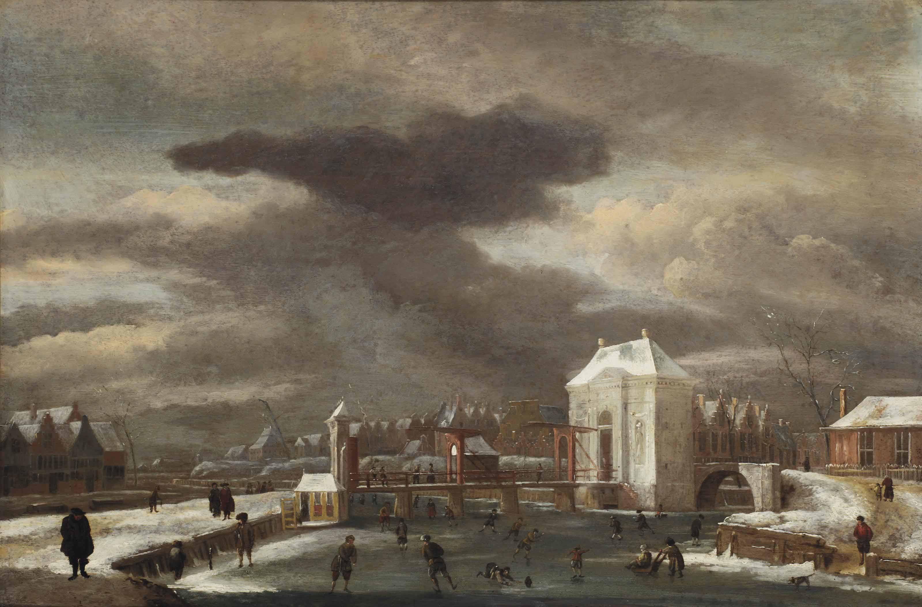 A winter landscape with a view of the Heiligewegpoort, Amsterdam, with figures skating on the Singel
