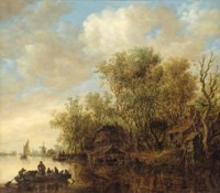 A wooded river landscape with a ferry crossing the water, houses on the river bank and a windmill beyond
