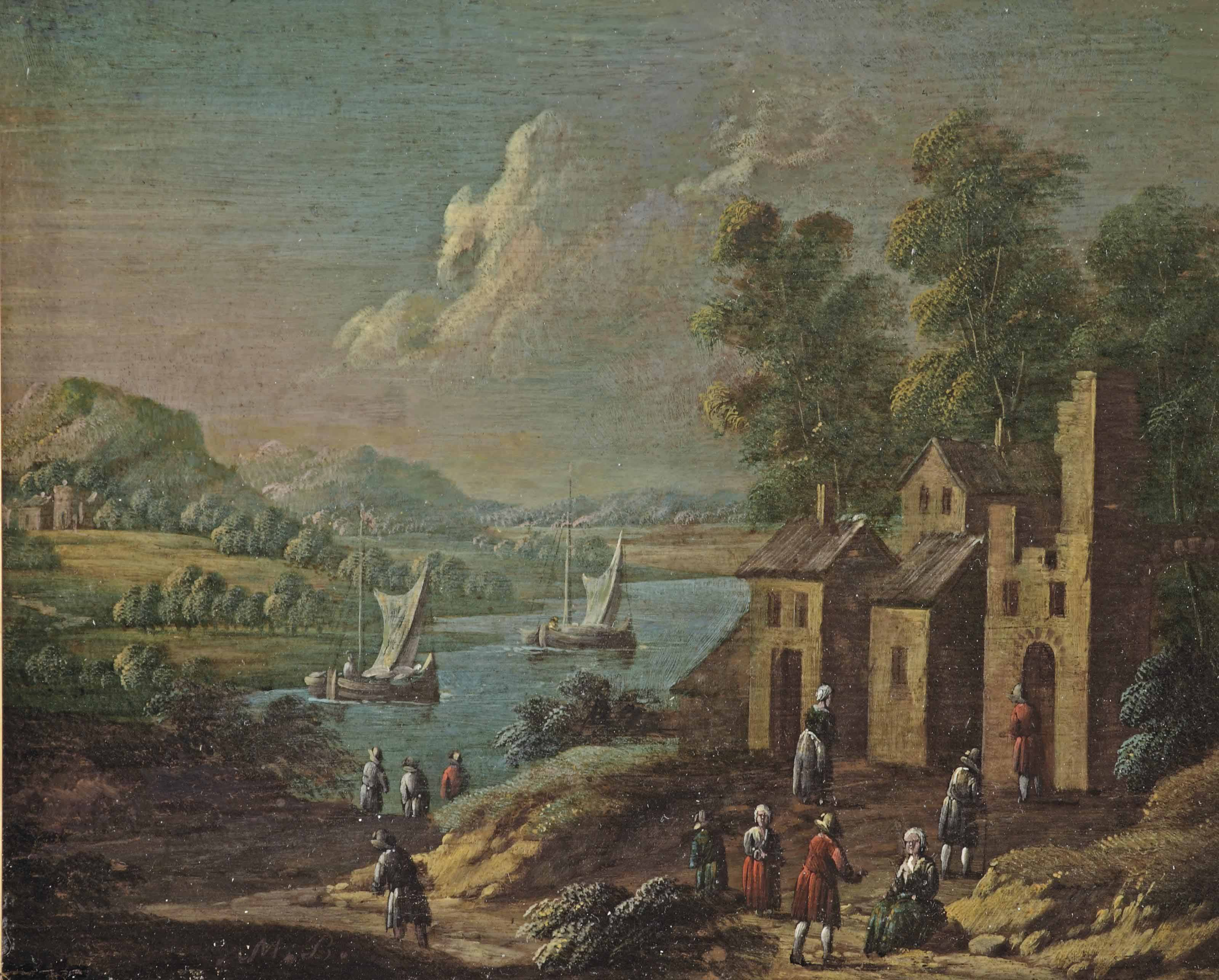 A river landscape with a village scene in the foreground