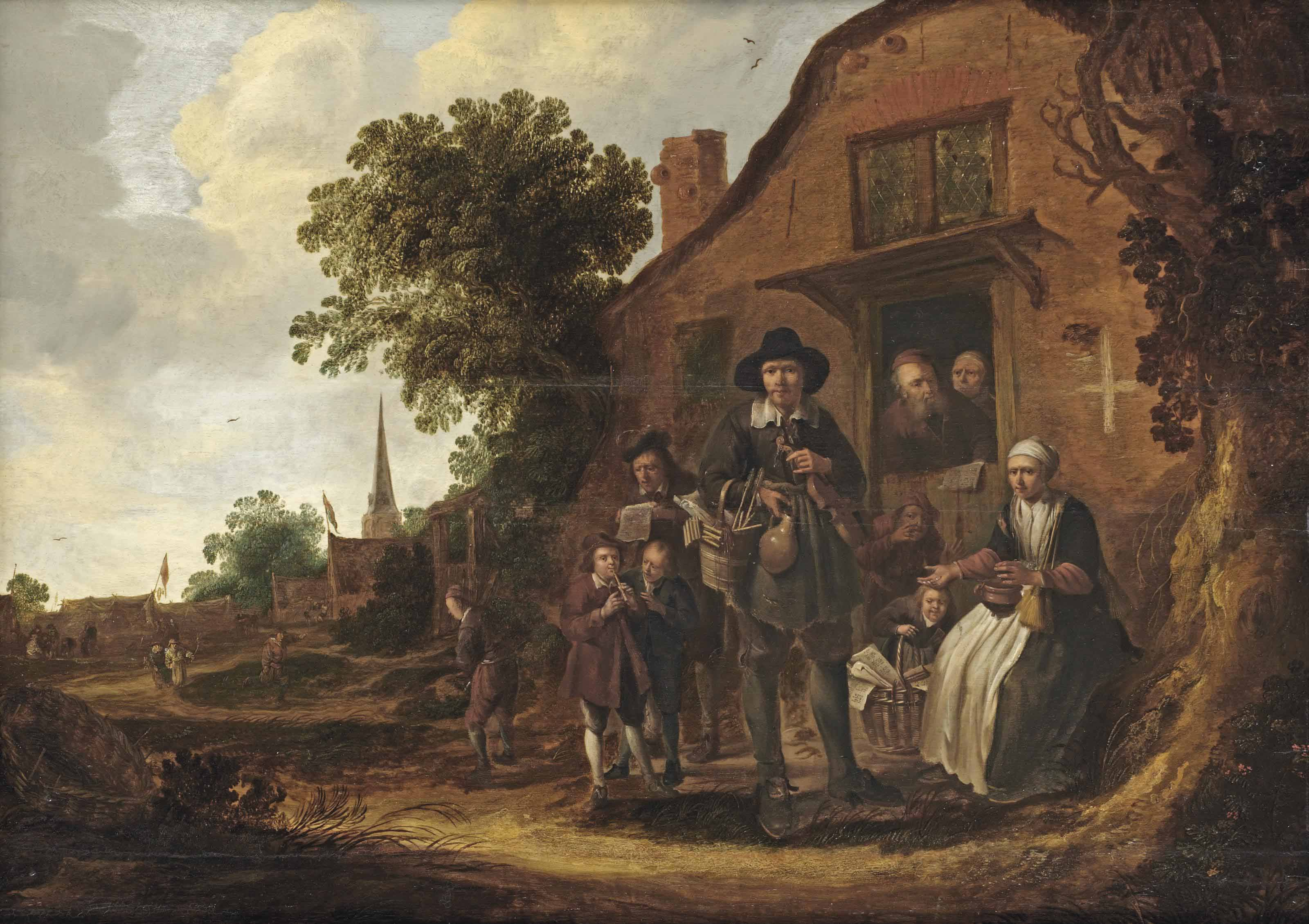 A music merchant surrounded by a group of villagers in front of a farm house
