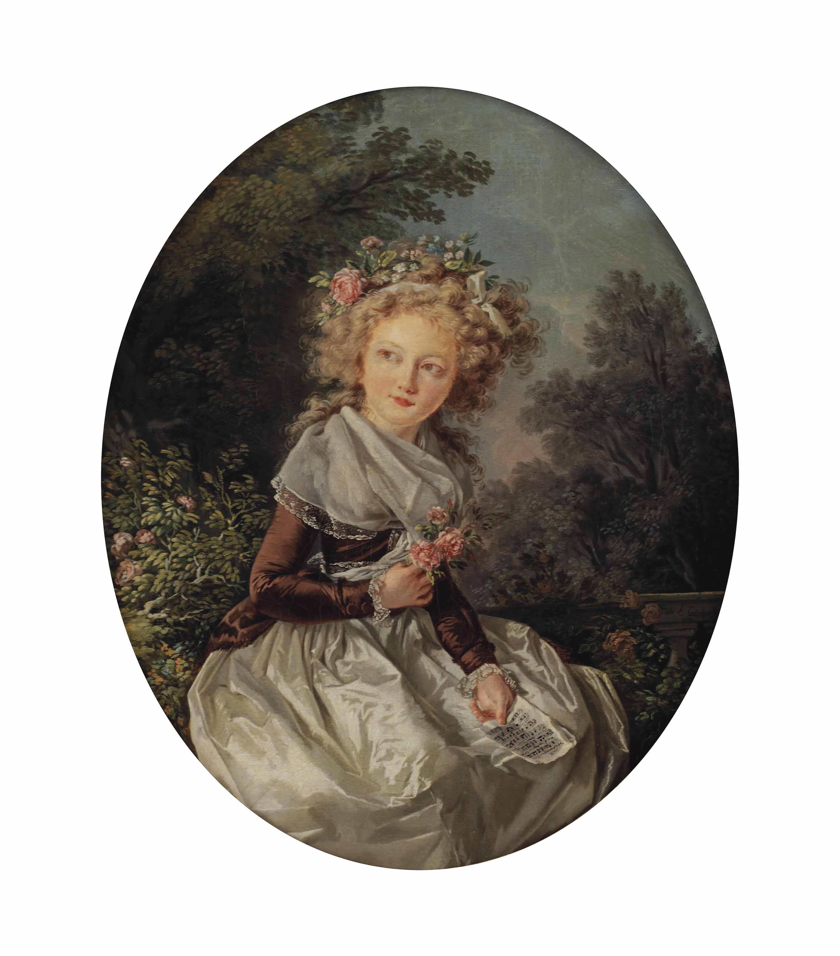 Portrait of a girl, three-quarter length, in a silk dress holding a sheet of music and a sprig of roses, seated in a landscape