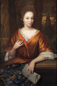 Portrait of a young lady, three-quarter-length, in an orange embroidered silk dress with ochre mantle and lace chemise, seated in a park landscape and holding a sheet of music