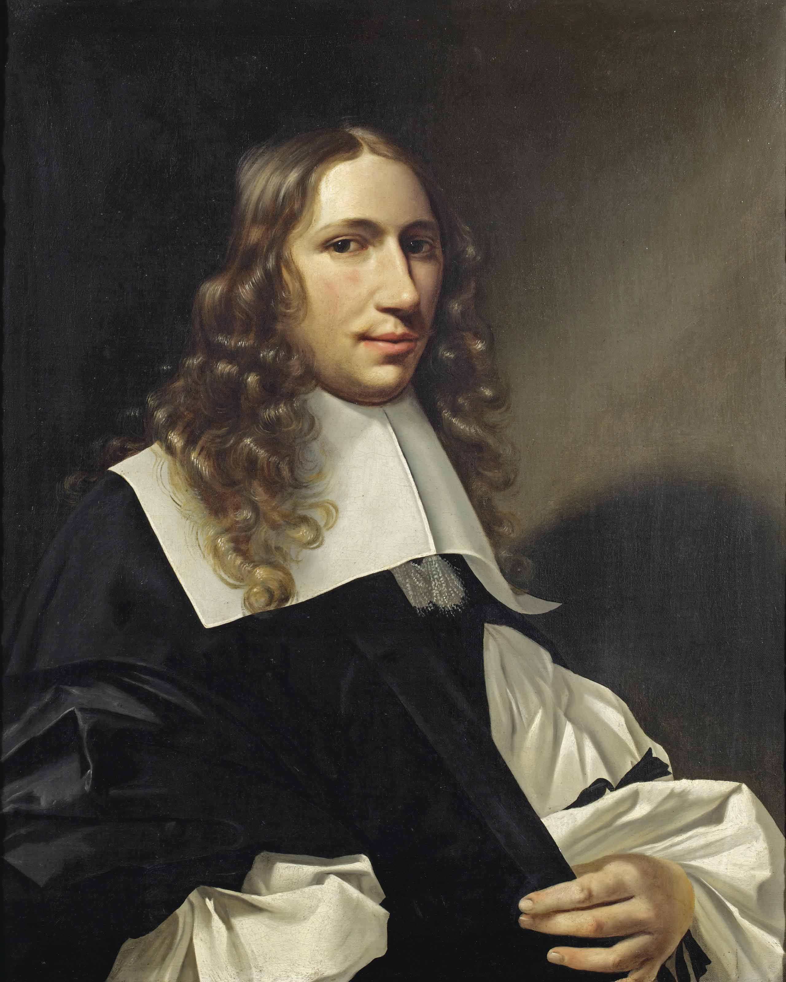 Portrait of a gentleman, half-length, in a black gown, with a white chemise and white collar