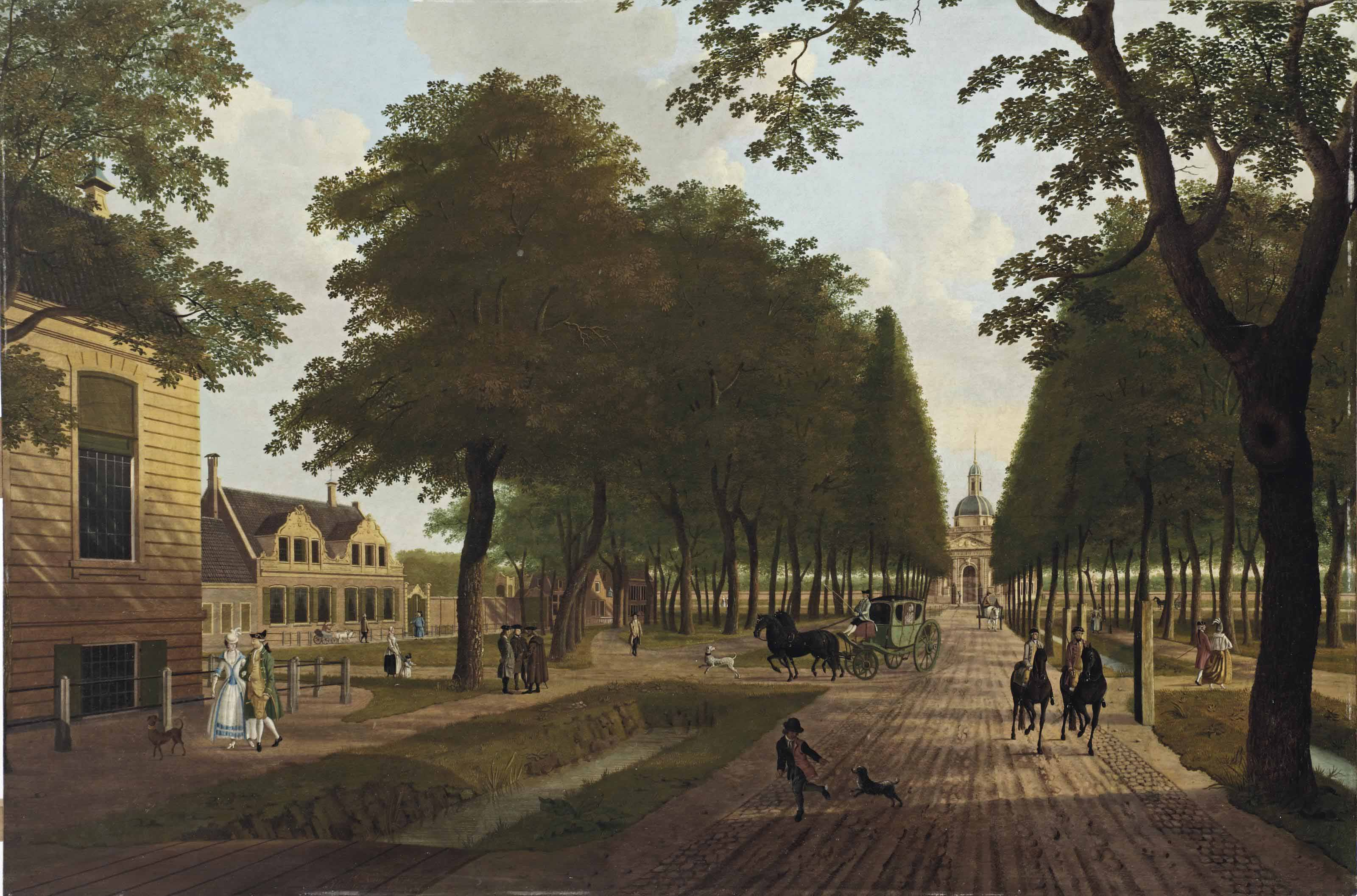 A view of the Plantage Middenlaan, Amsterdam, with the residence of 'Vlietsorg' to the left and the Muiderpoort in the distance