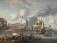 A capriccio of a mediterranean harbour with a Dutch three-master disembarking