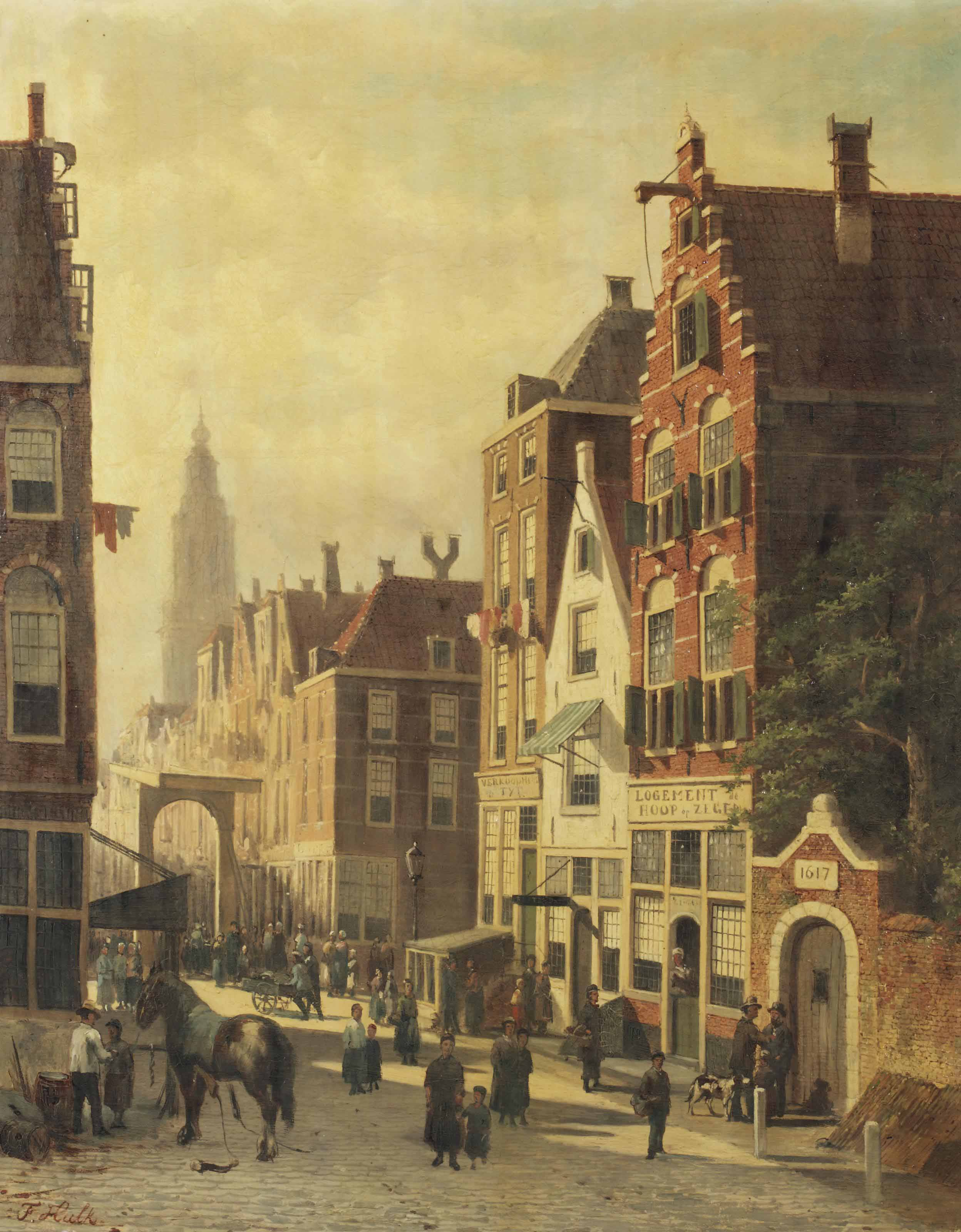 A busy sunlit street with a view of the Martinitoren, Groningen