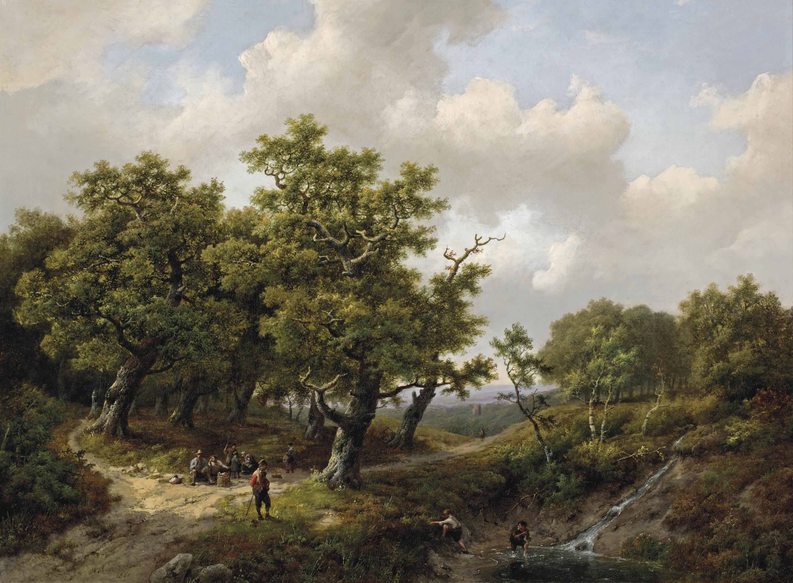 A wooded landscape with figures resting near a stream