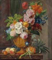 Roses, lilies, a sheaf of wheat, morning glories and other flowers in a sculpted urn, with a pineapple, red gooseberries, grapes, peaches and apricots on a marble ledge