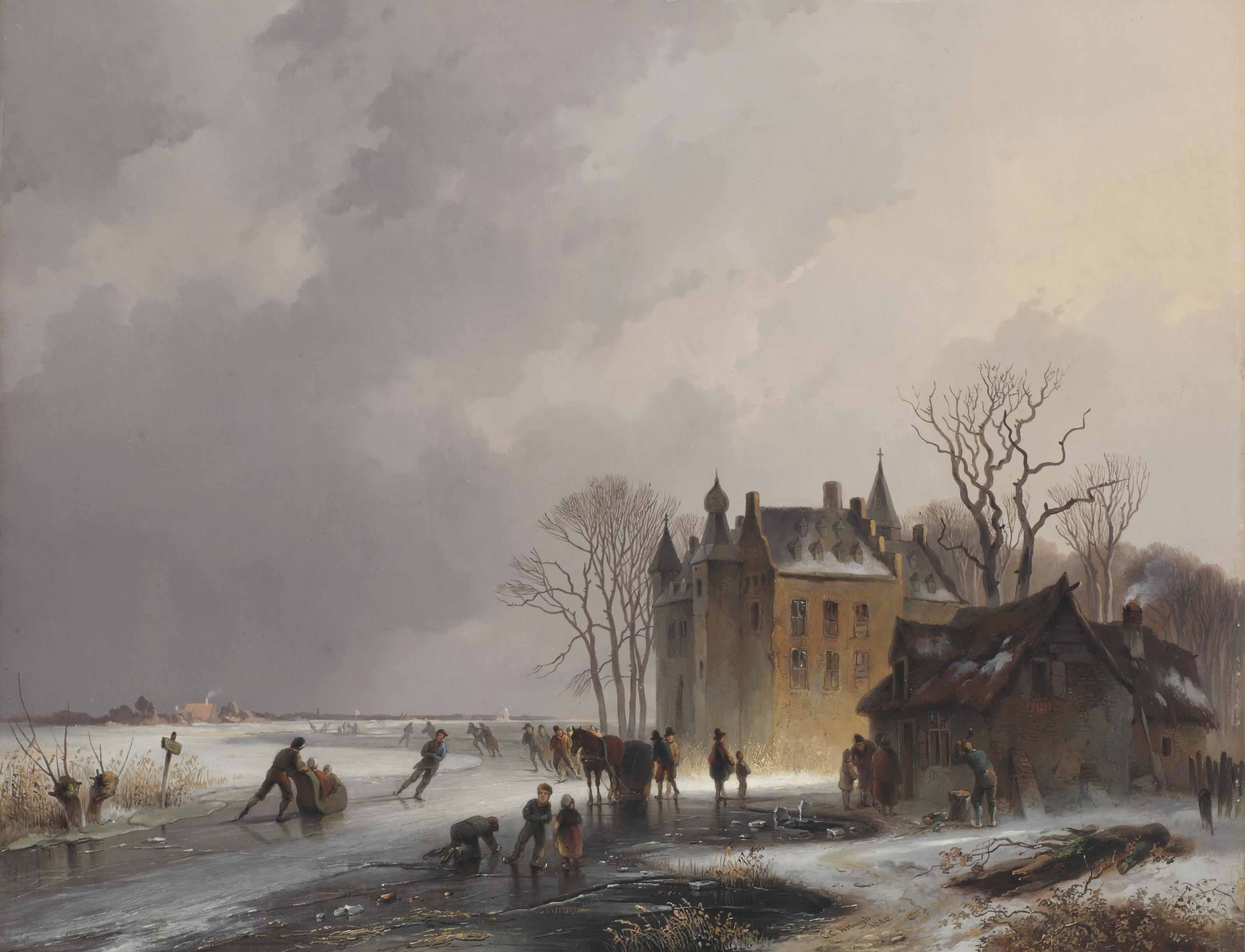 A winter landscape with skaters on a frozen lake near a castle