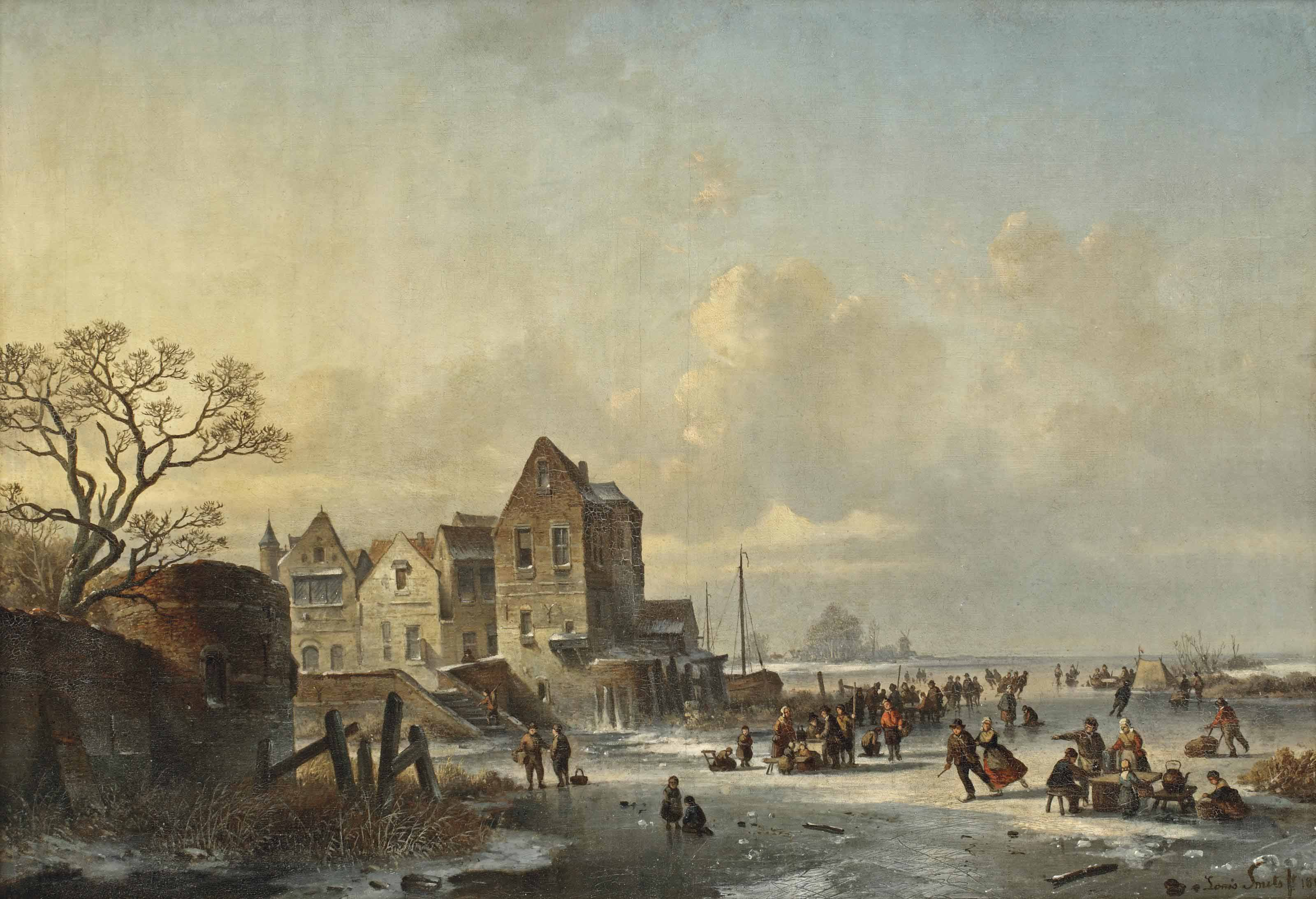 Ice skaters near a Dutch lakeside village