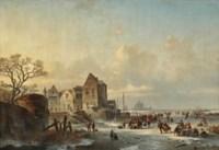 Ice skaters near a Dutch lakeside village