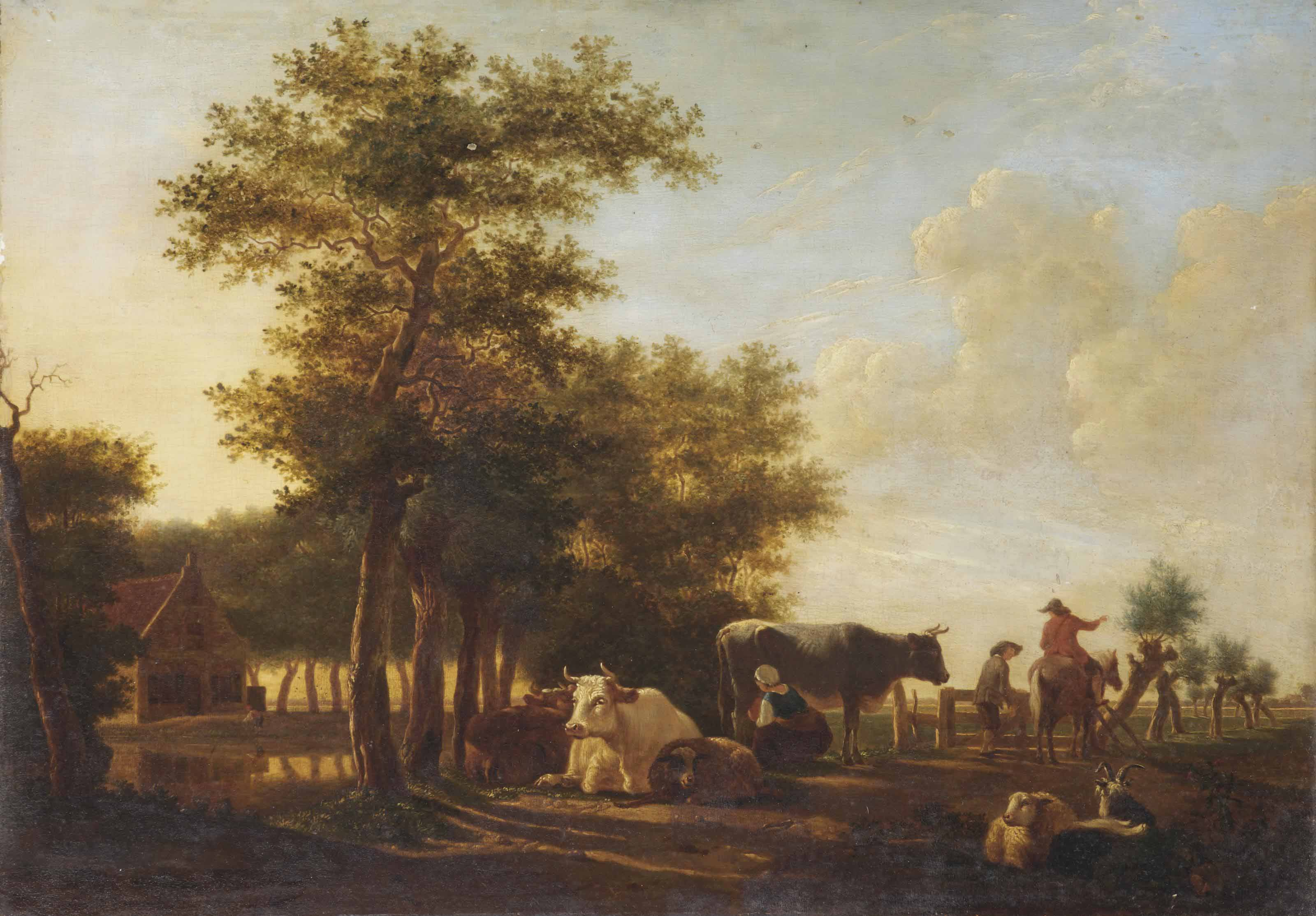 A pastoral scene with peasants and their cattle