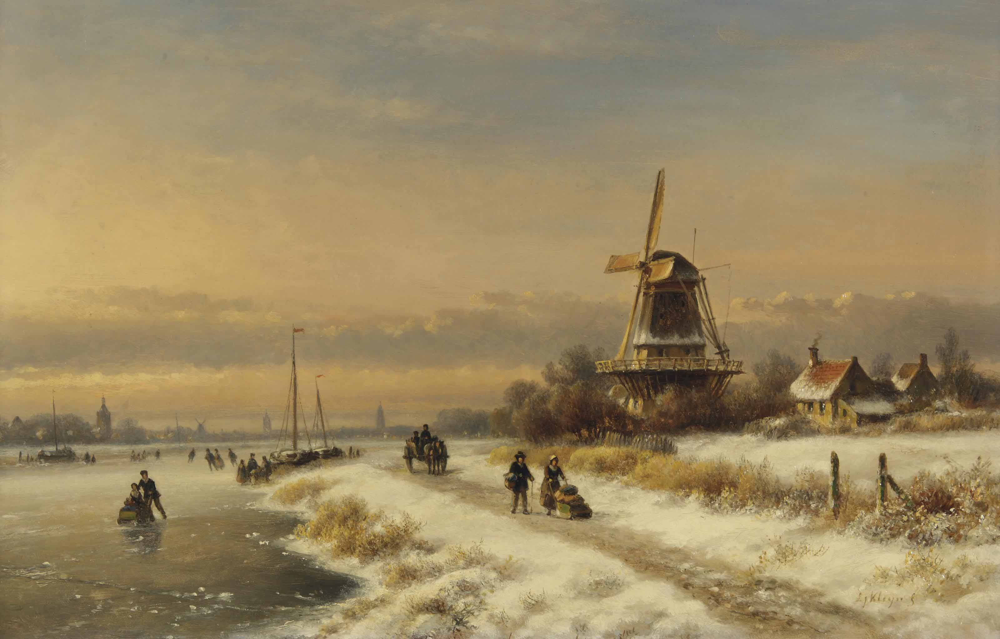 A winter landscape with skaters near a windmill