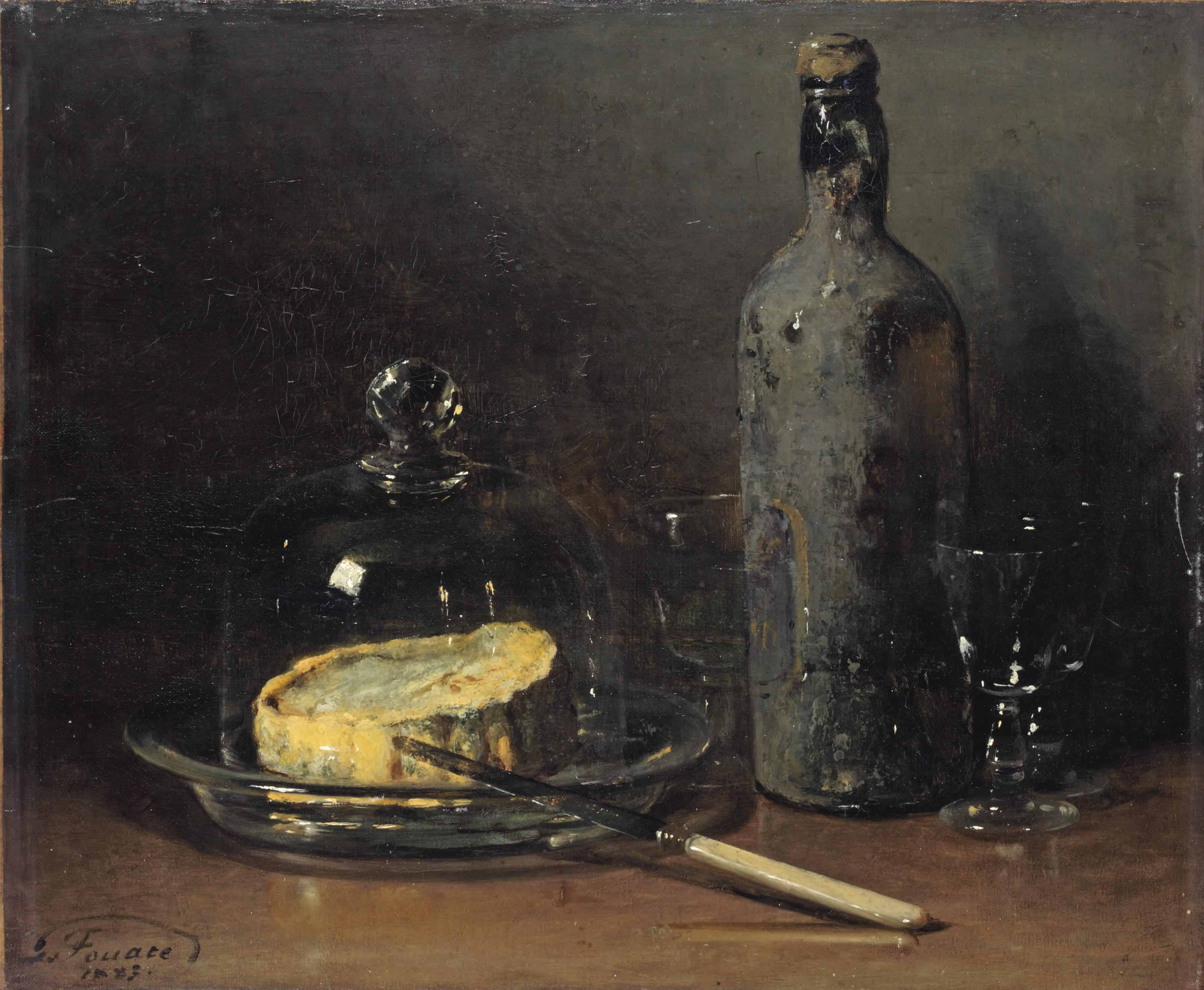 A still life with cheese and wine