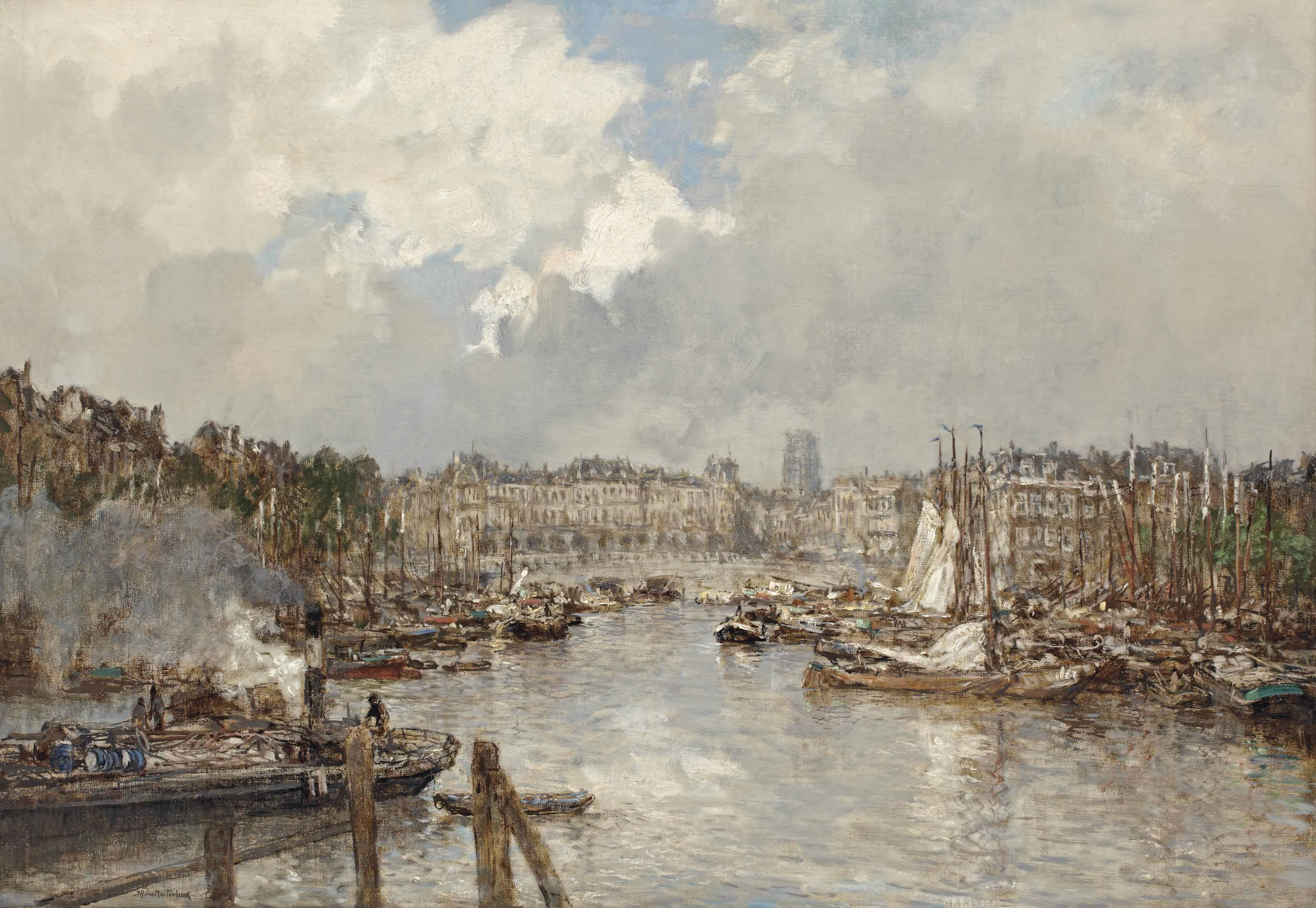 A view of the Oude Haven and the Vischmarkt, with the Laurenskerk beyond, Rotterdam