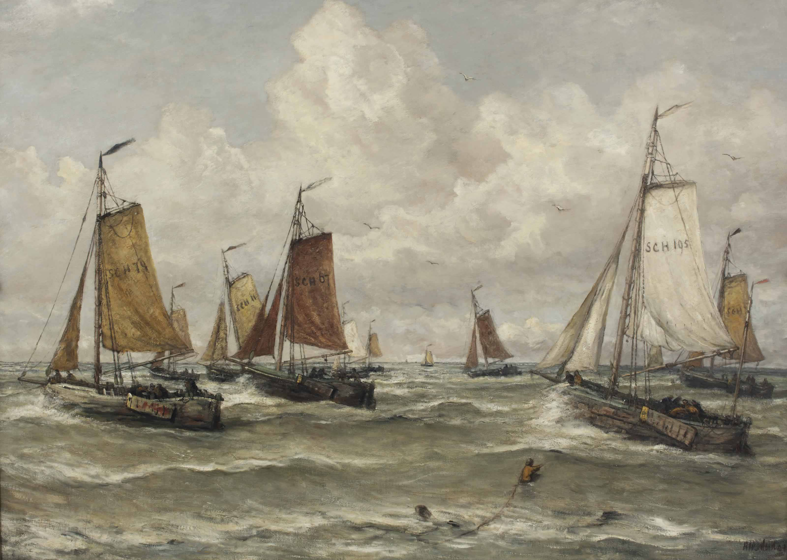 Vissersvloot te Scheveningen: a Scheveningen fishing-fleet